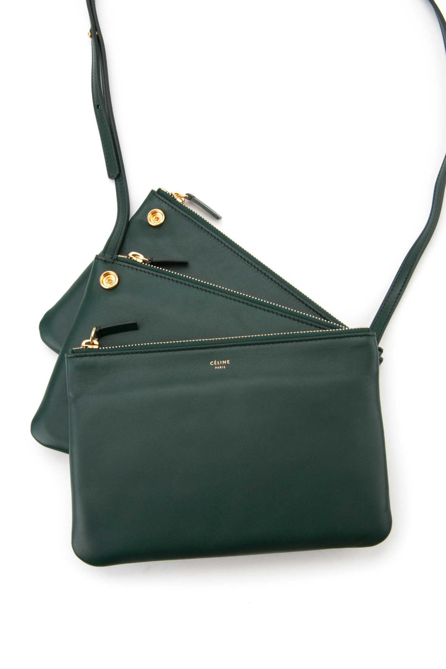 C¨¦line Trio Bag in Green (DARK GREEN) | Lyst