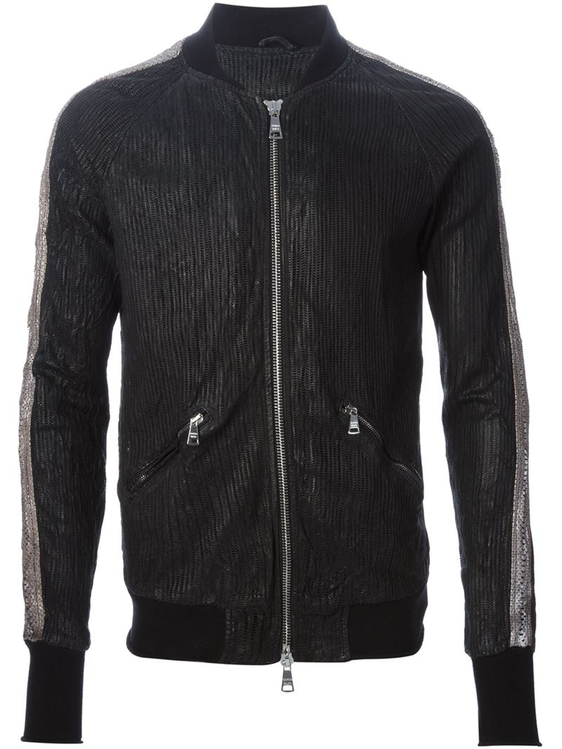 Lyst Giorgio Brato Laser Cut Out Leather Bomber Jacket