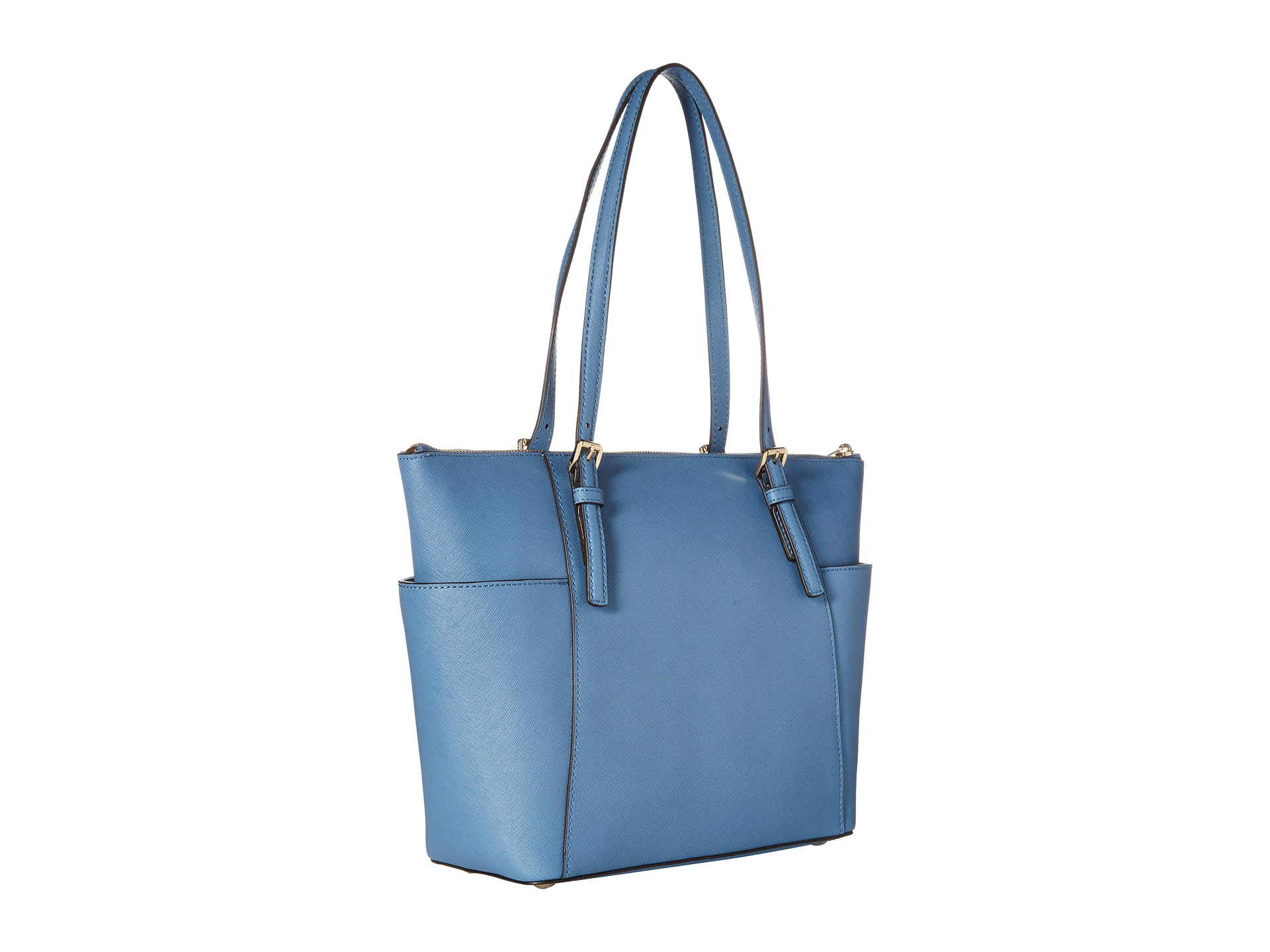 dfde84ee71c5 MICHAEL Michael Kors Jet Set Saffiano Top Zip Tote in Blue - Lyst
