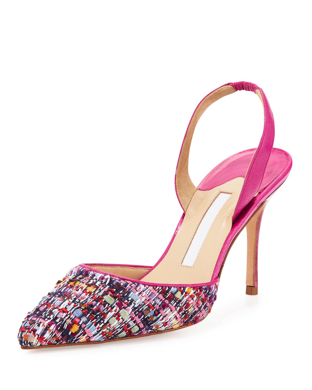 Manolo Blahnik Ivory And Black Cap Toe Guingla Diamond: Manolo Blahnik Carolyne Tweed Pumps In Pink