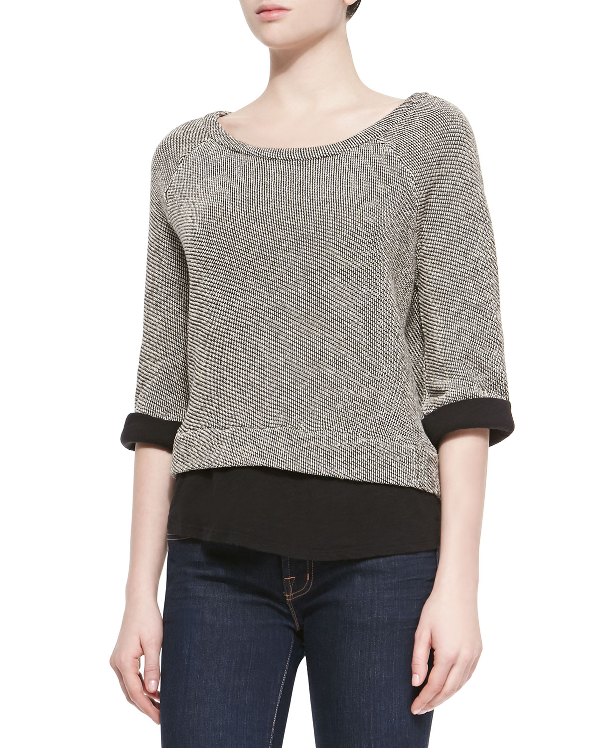 Lyst Soft Joie Gregorie Patterned Solid Combo Sweater In Black