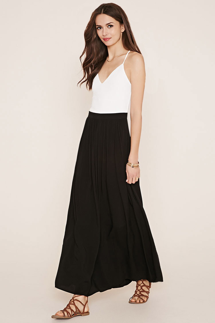 ff33981115 Lyst - Forever 21 Contemporary Maxi Skirt in Black