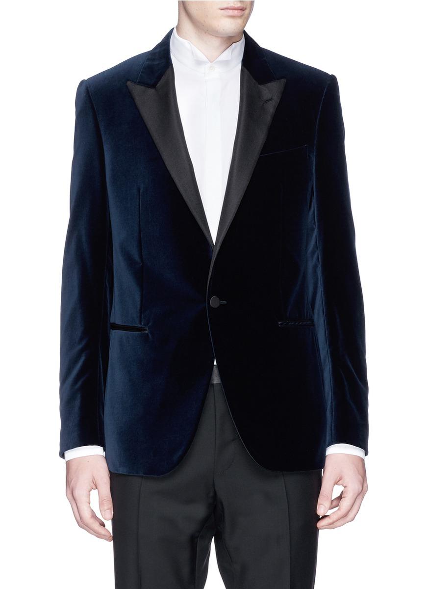 Lanvin Satin Lapel Velvet Tuxedo Blazer In Blue For Men Lyst