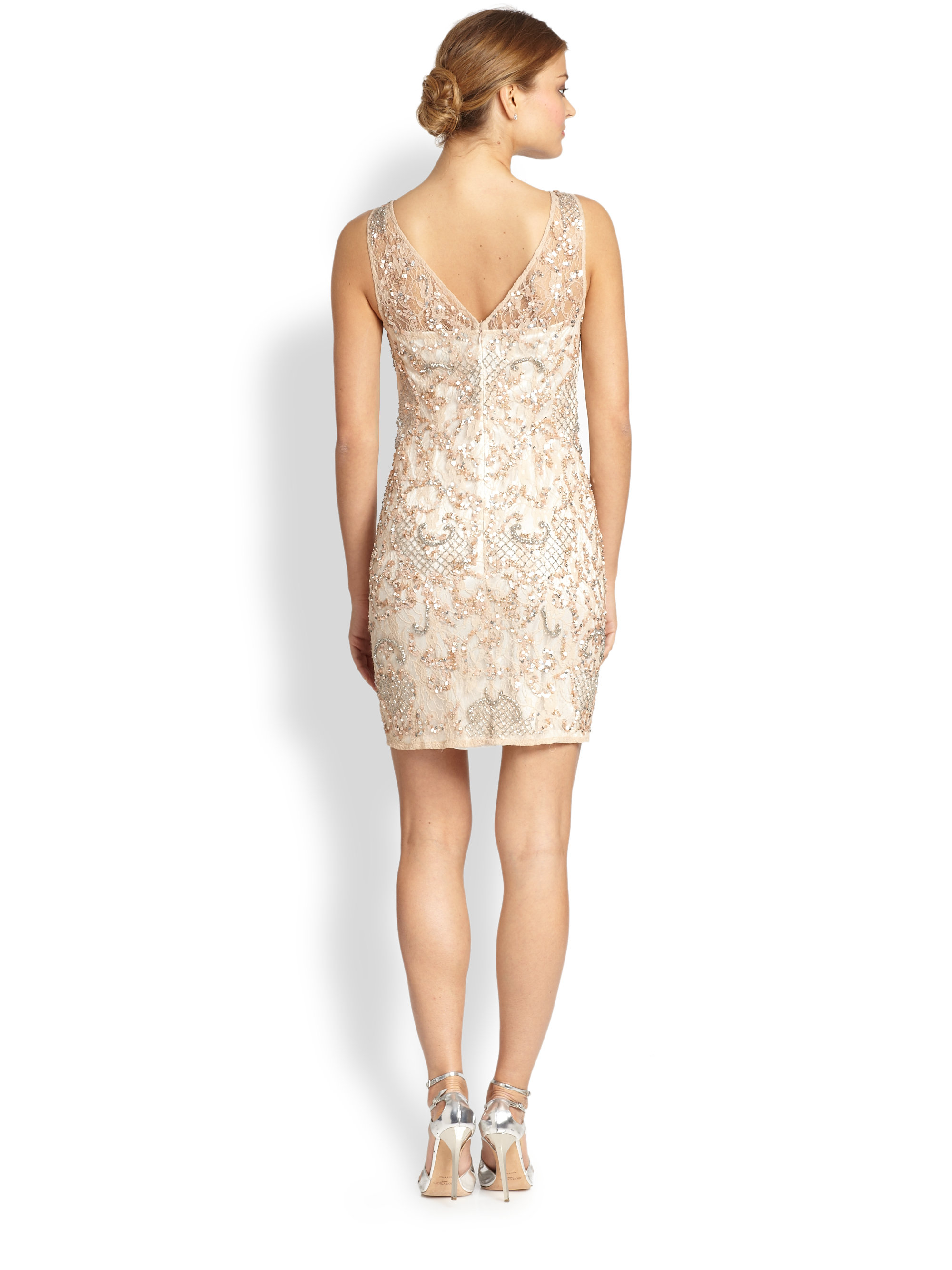 Lyst Aidan Mattox Embellished Lace Illusion Dress In Natural