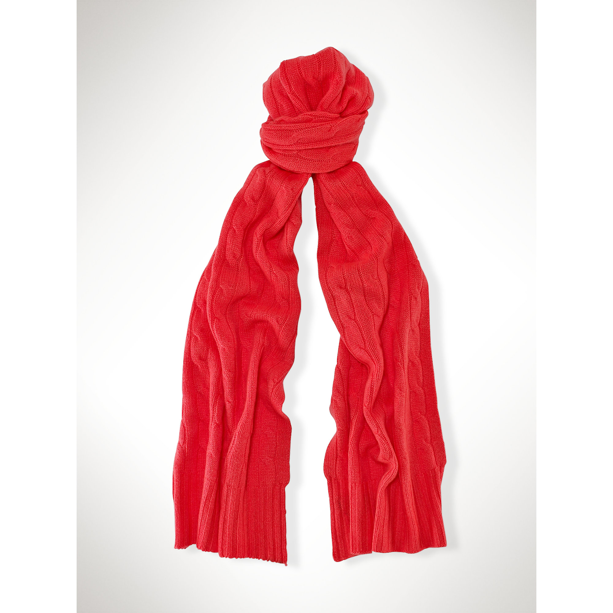 polo ralph classic cabled scarf in lyst