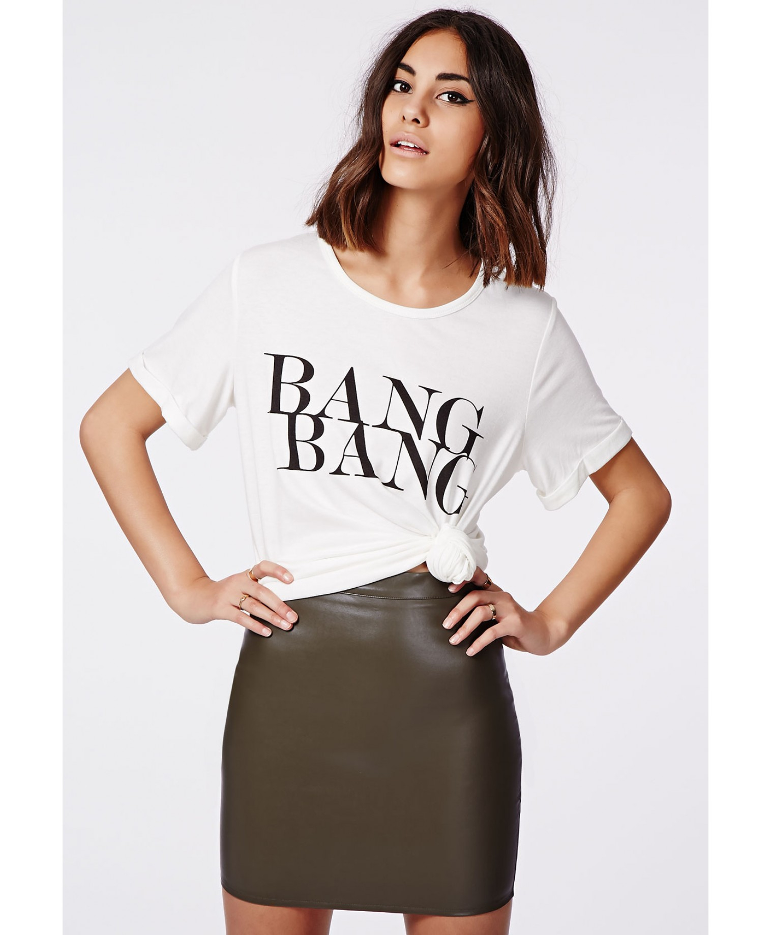 e5b16dc860 Missguided Rica Faux Leather Mini Skirt Khaki in Natural - Lyst