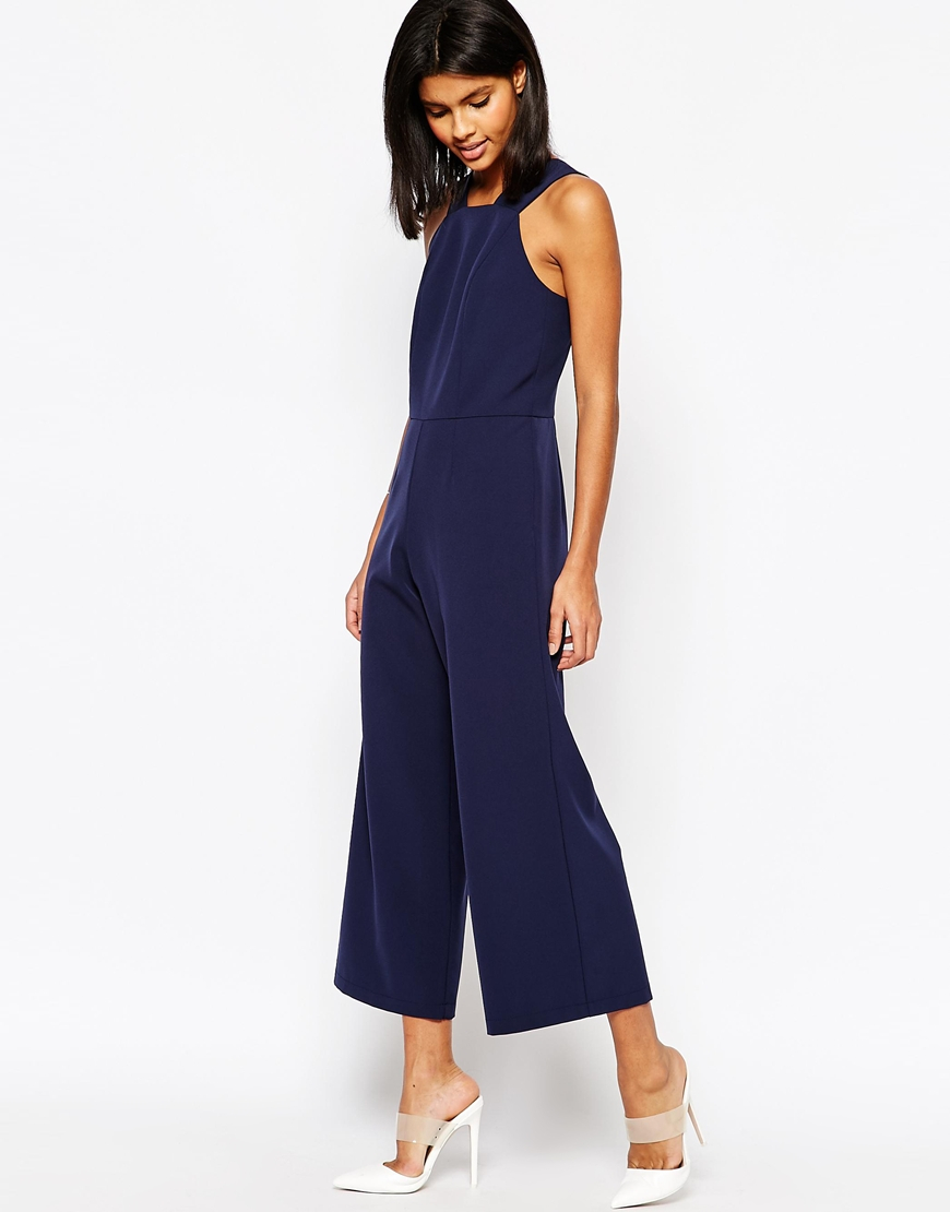 56974e471a3b ASOS Tailored High Neck Pinafore Jumpsuit in Blue - Lyst