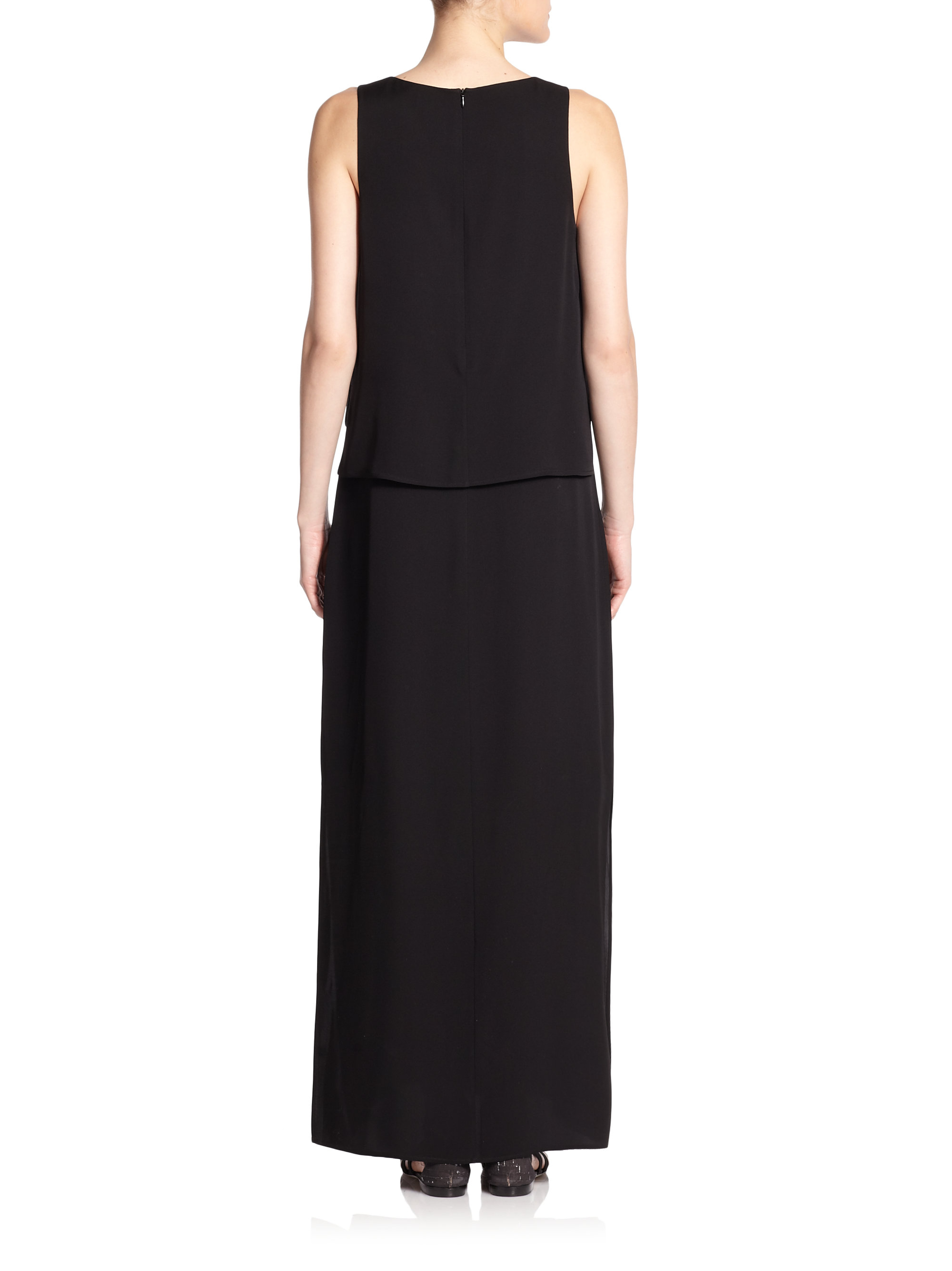 Theory Inamy Silk Maxi Dress in Black | Lyst
