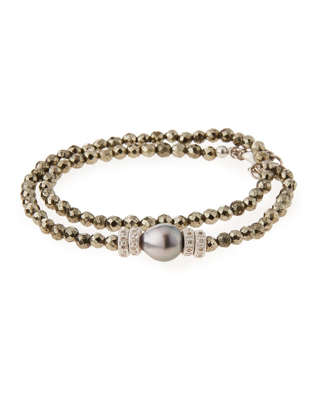 Armenta New World Tahitian Pearl & Diamond Wrap Bracelet FvUSWxEdb