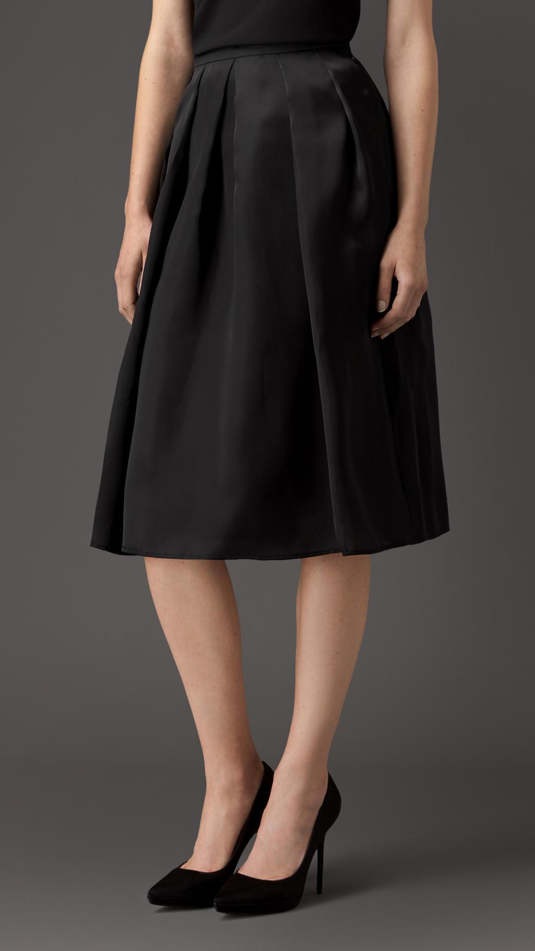 burberry sculptured silk skirt in black lyst
