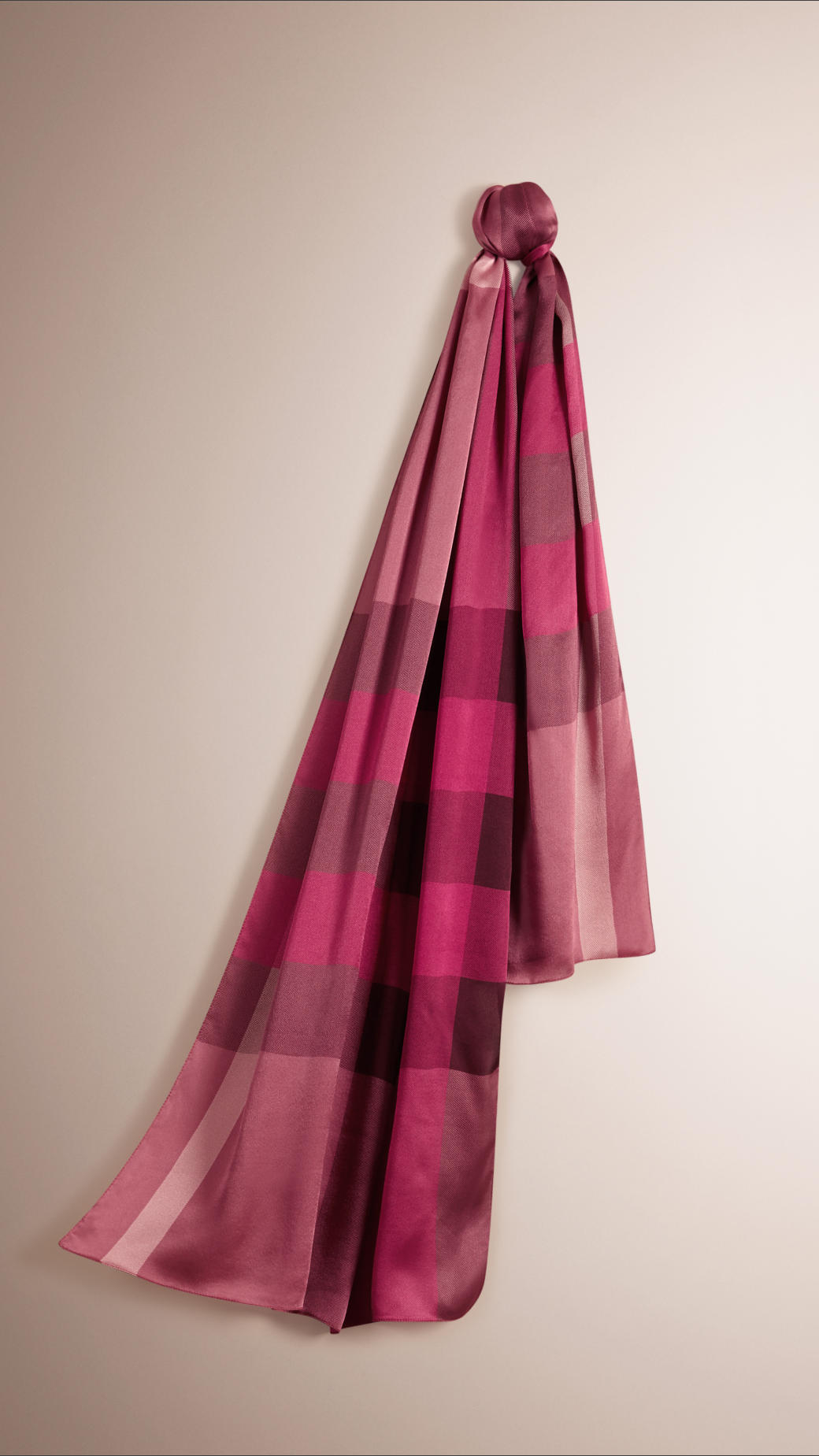 burberry check silk satin scarf in pink pink lyst