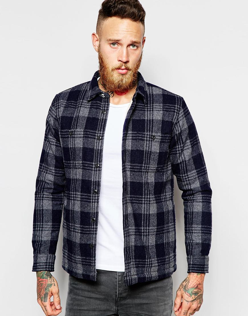 Edwin Overshirt Jacket Labour Heavy Flannel Check Teddy Fur Lined ...