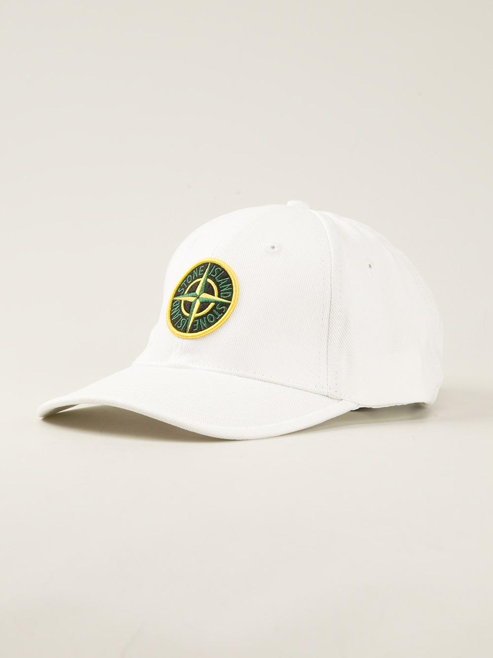 Lyst Stone Island Logo Baseball Cap In White For Men
