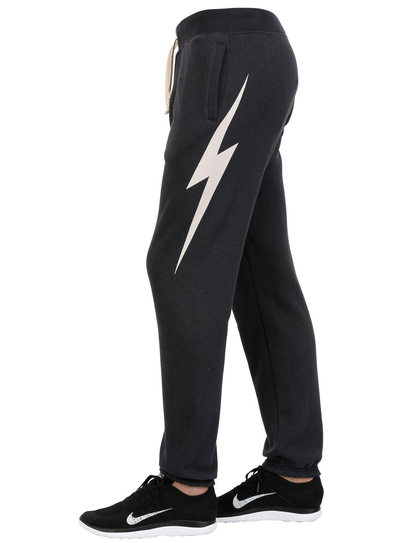 Lightning Bolt Cotton Blend Jogging Pants In Black Lyst