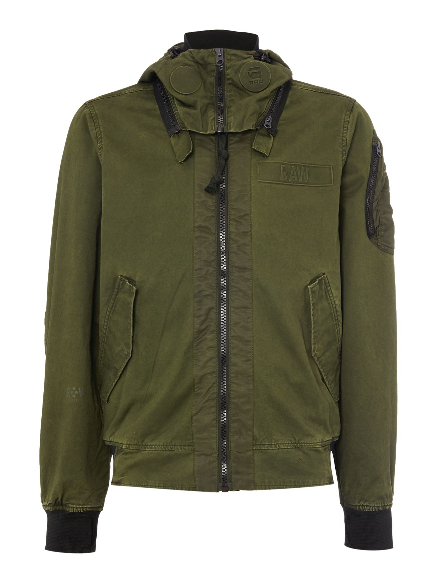 g star raw submarine zip through hooded bomber jacket in. Black Bedroom Furniture Sets. Home Design Ideas