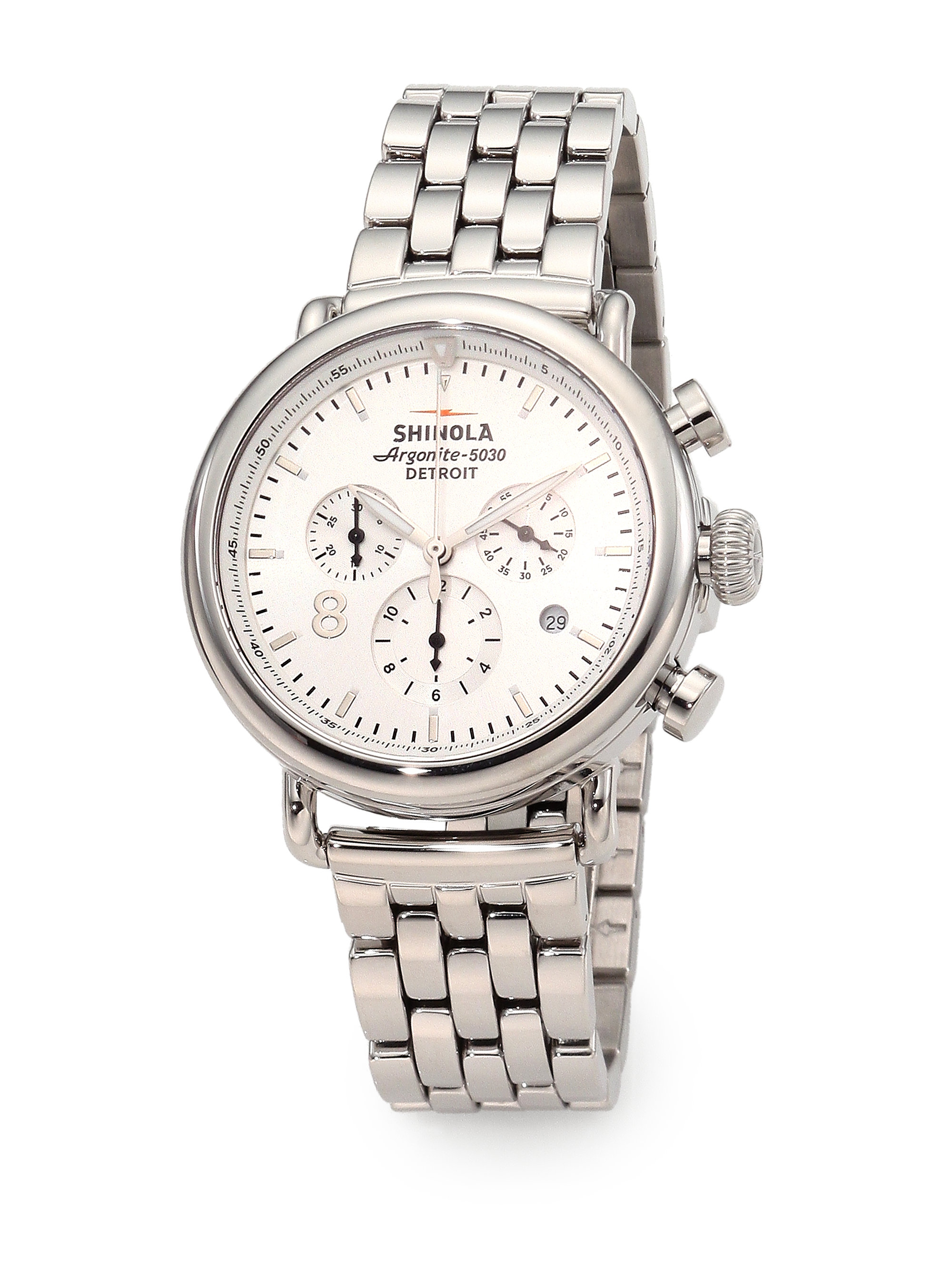 Lyst shinola runwell chronograph stainless steel bracelet watch in metallic for Shinola watches