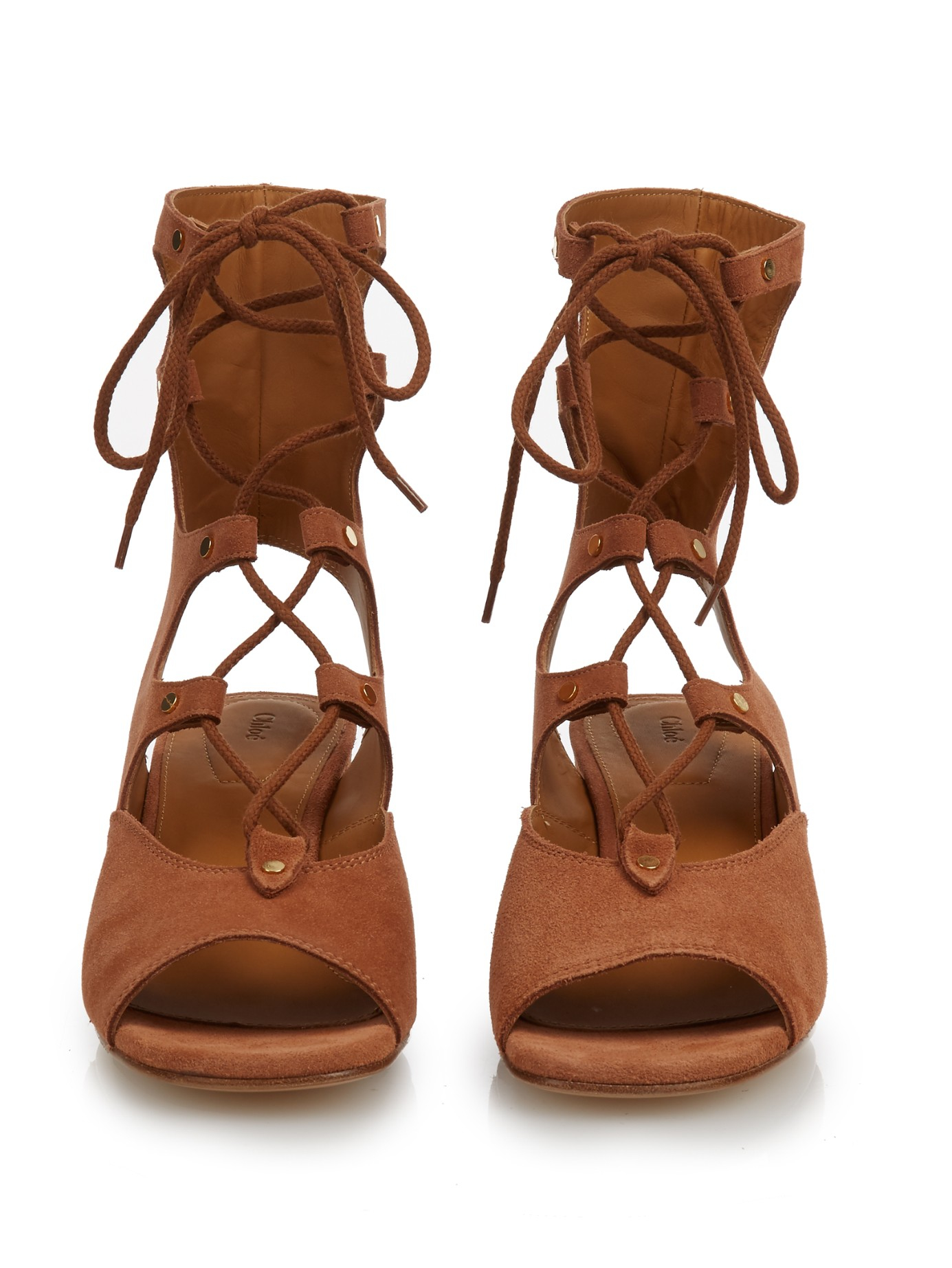 45c0e22d6cb Chloé Foster Lace-up Wedge Sandals in Brown - Lyst
