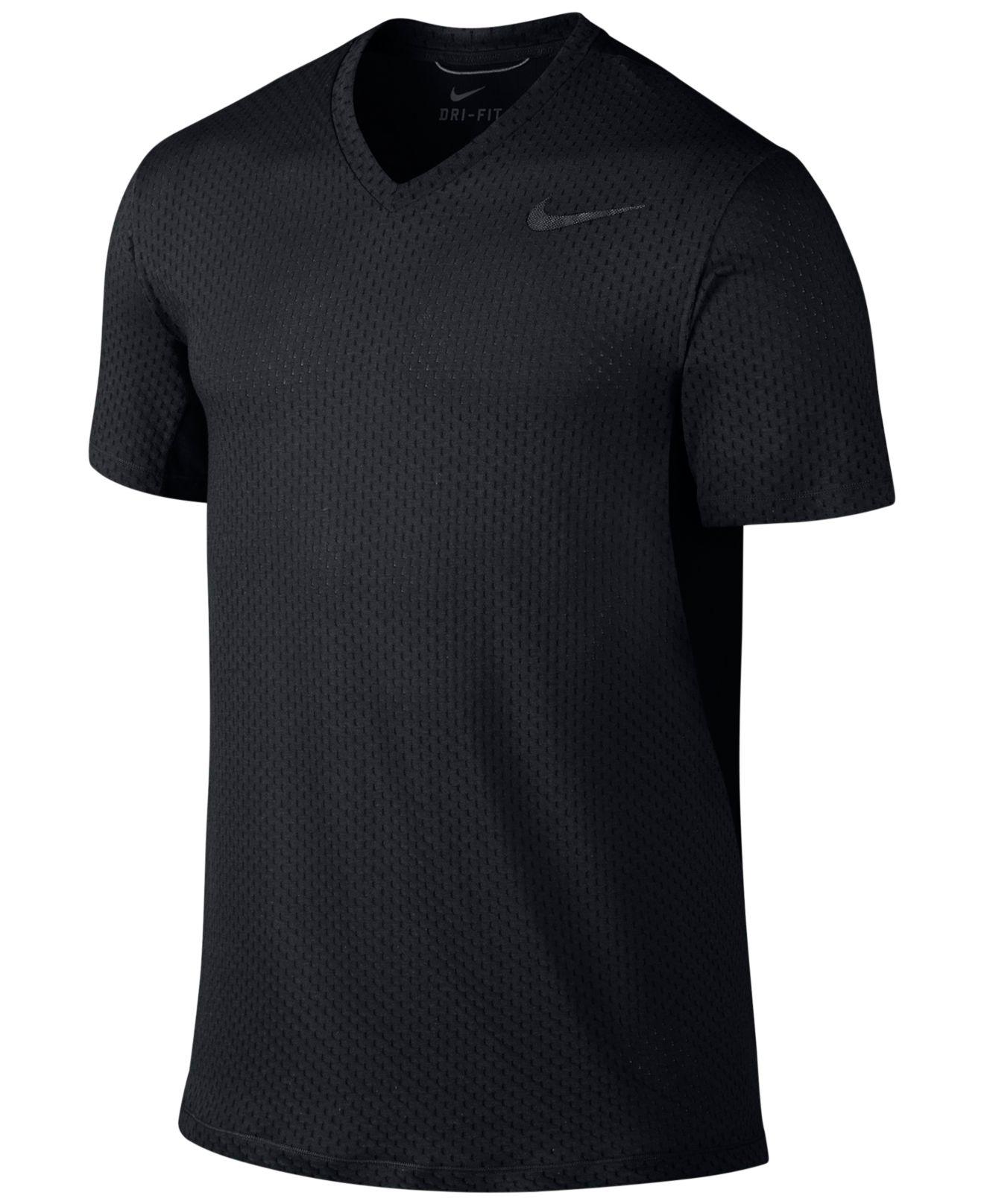 Lyst nike cool dri fit v neck training t shirt in black for Dri fit t shirt design