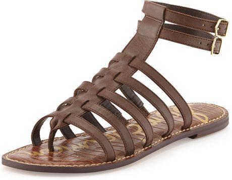 Sam Edelman Gilda Flat Leather Gladiator Sandal Dark
