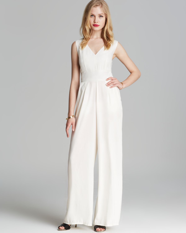 Lyst Alythea Wide Leg Cross Back Jumpsuit In White