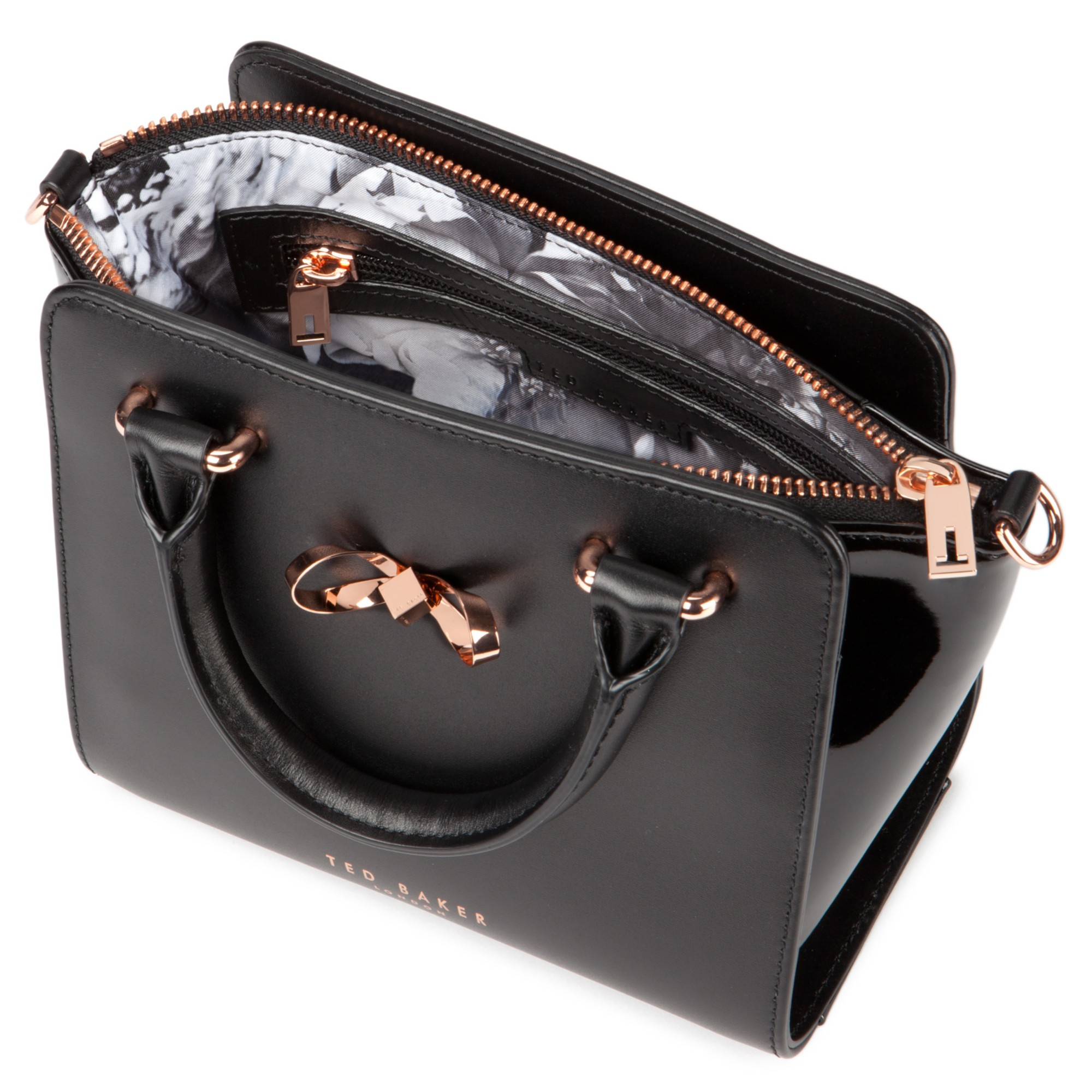 ed99efff6 Ted Baker Perie Bow Mini Leather Tote Bag in Black - Lyst