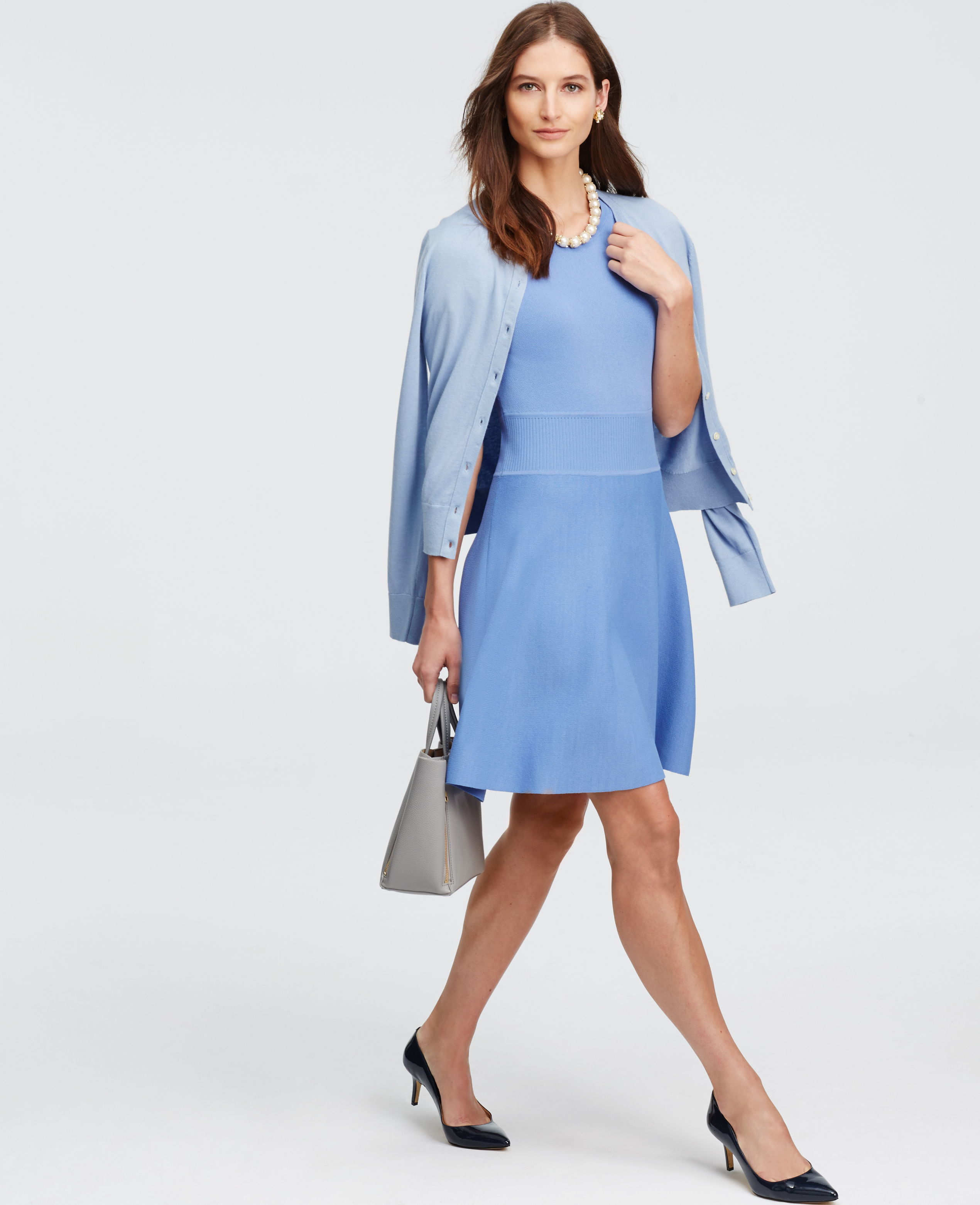 Ann taylor Flare Sweater Dress in Blue | Lyst