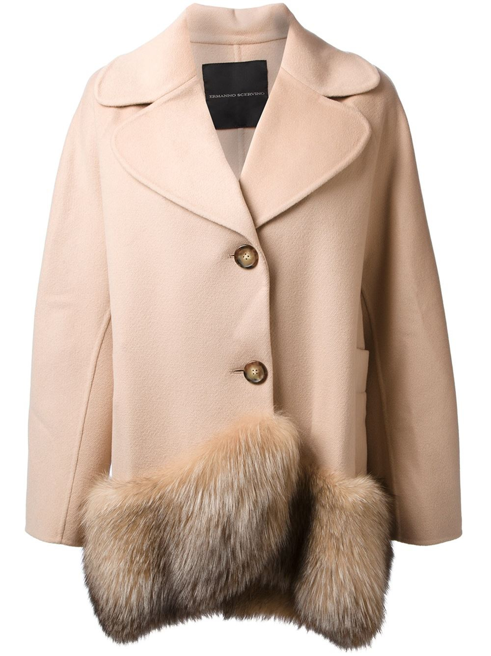 Ermanno scervino Fox Fur Trimmed Coat in Natural | Lyst
