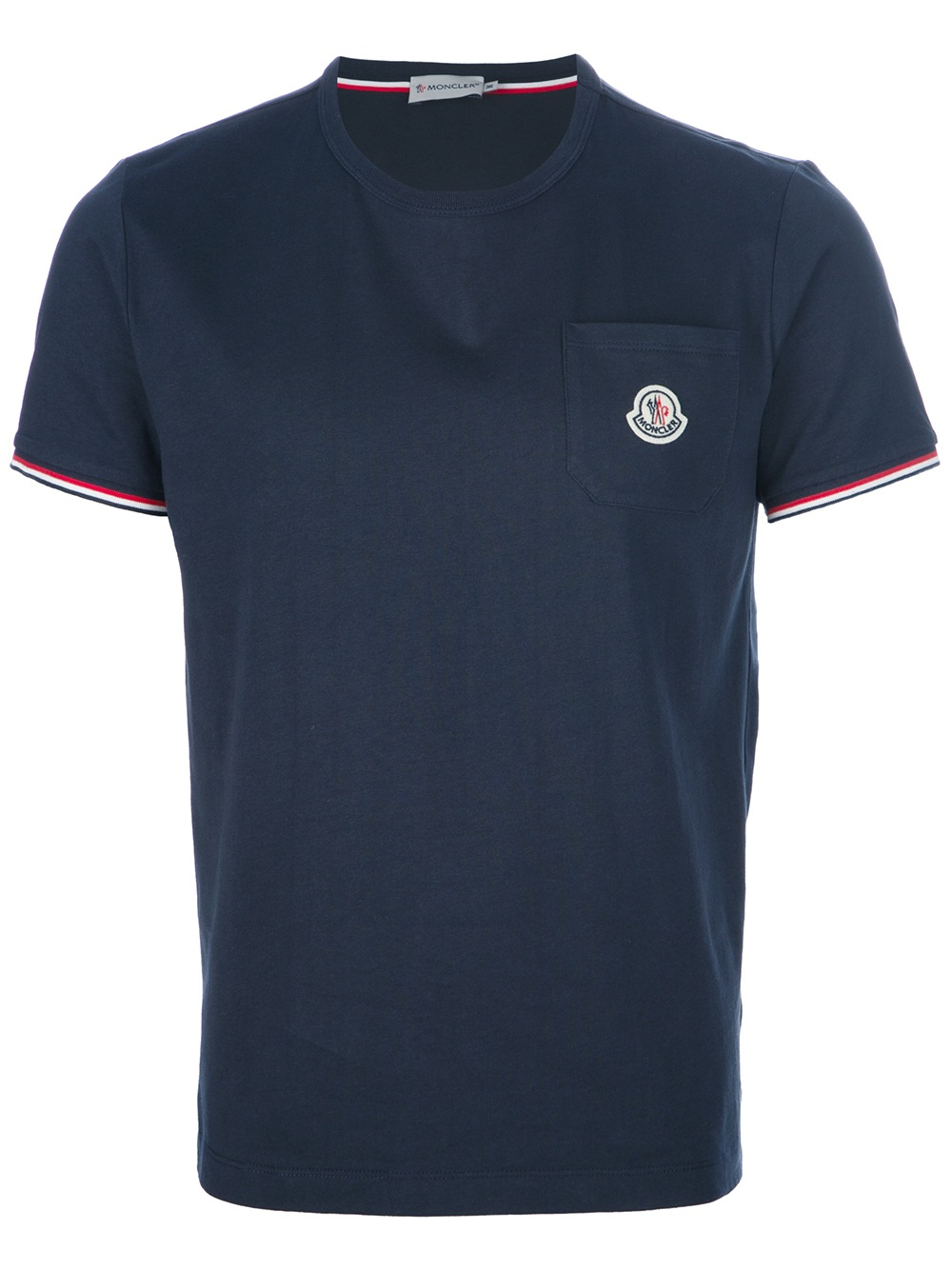 moncler logo pocket tshirt in blue for men lyst