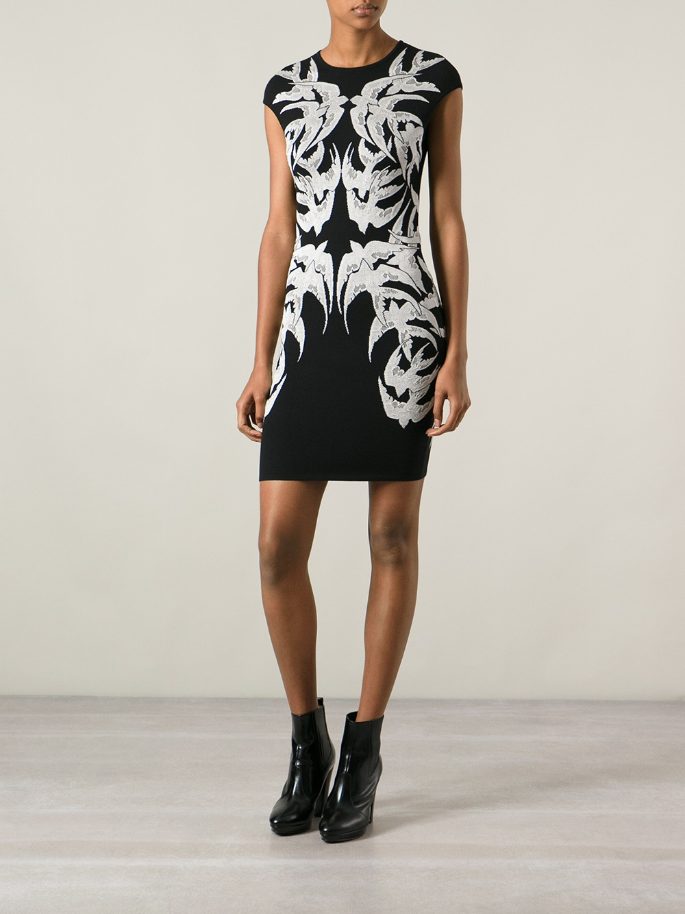 Alexander Mcqueen Lace Bird Jacquard Dress In Black Lyst