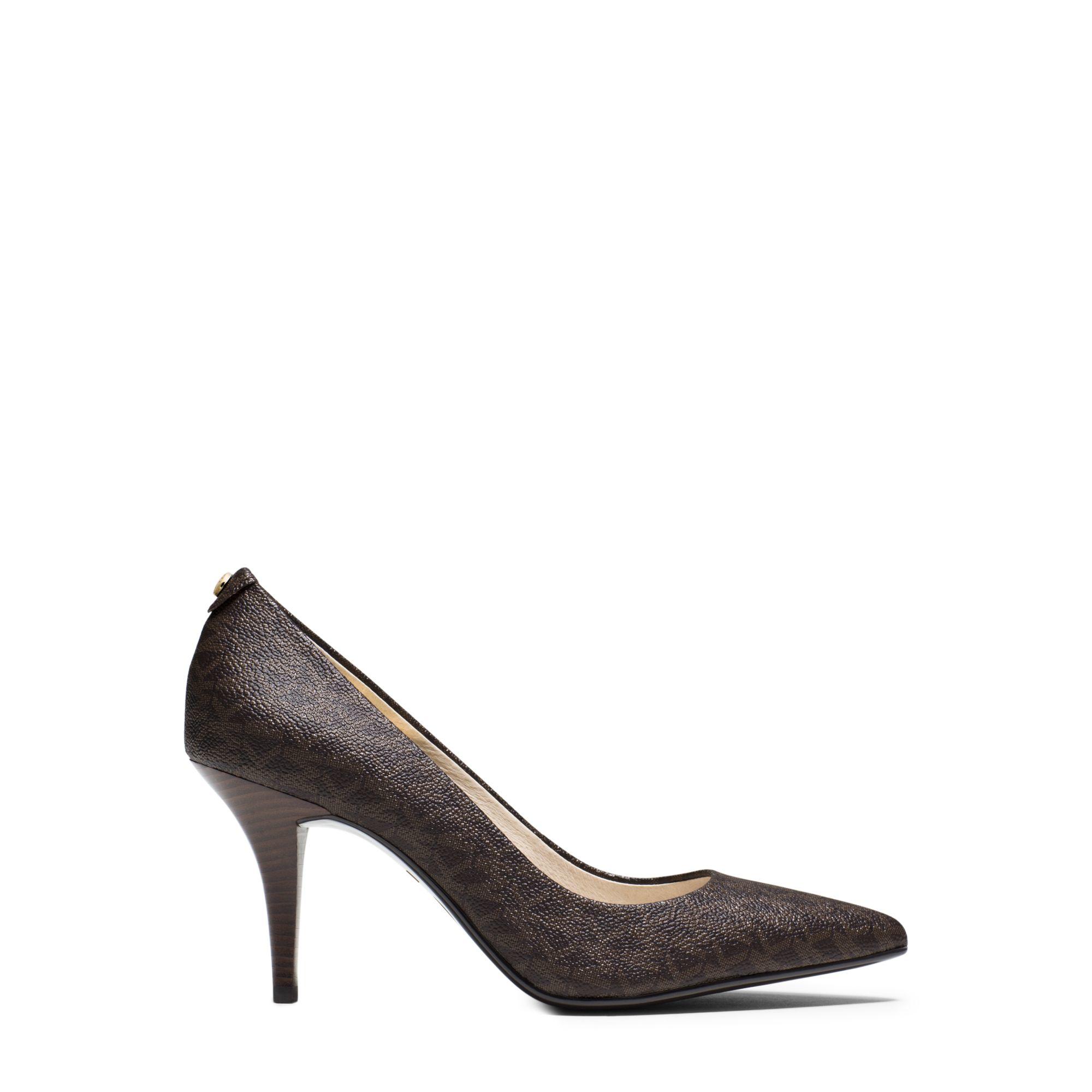 3d26a943706f Lyst - Michael Kors Flex Logo Mid-heel Pump in Brown