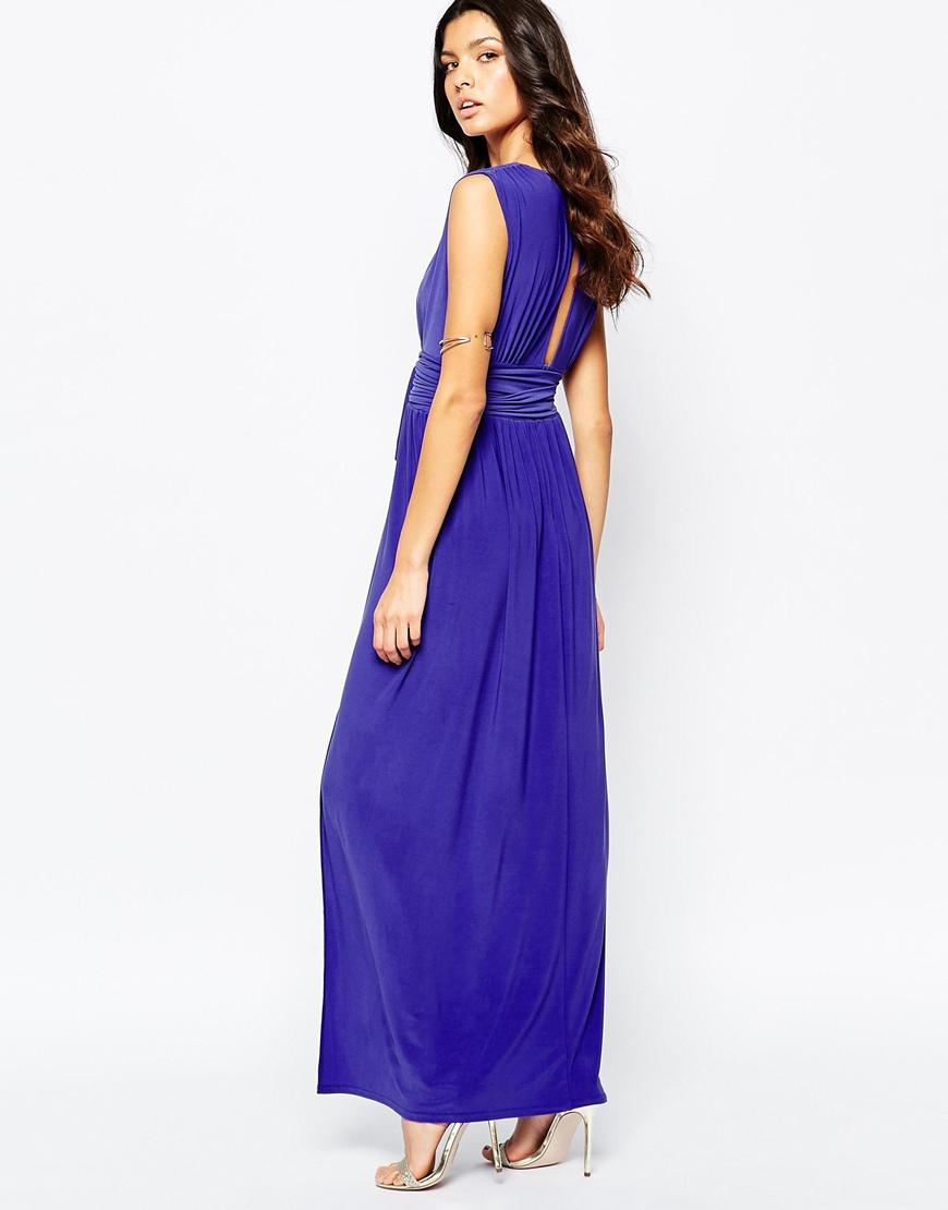 3204b2e6e2 Lyst Love Plunge Neck Maxi Dress With Wrap Belt In Metallic