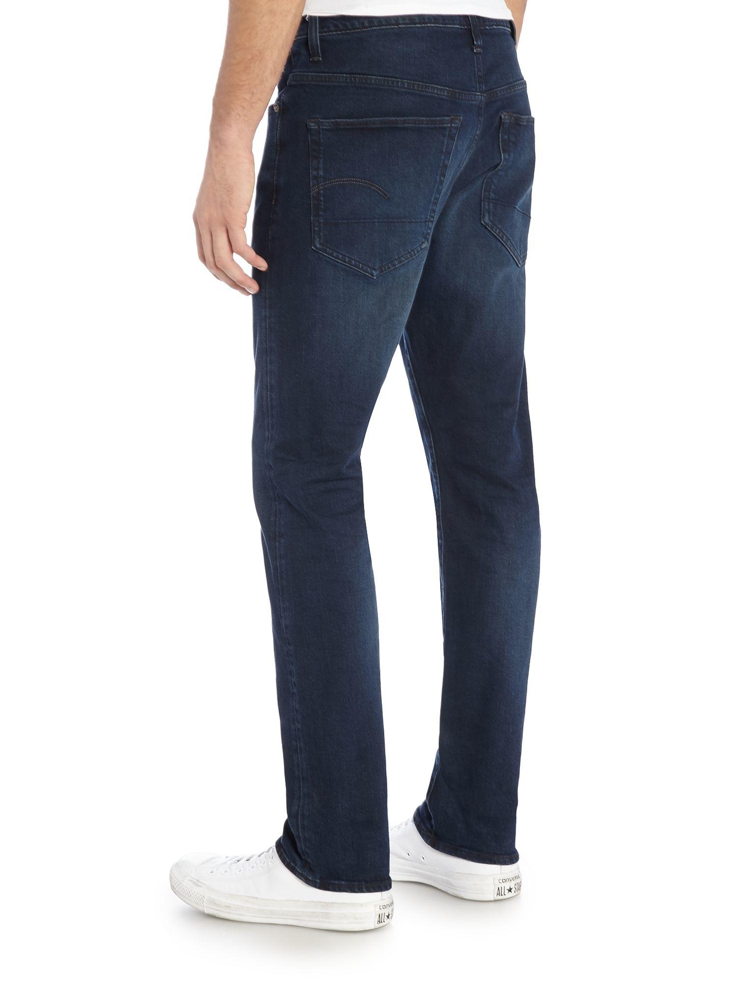 g star raw 3301 dark aged straight leg jean in blue for. Black Bedroom Furniture Sets. Home Design Ideas