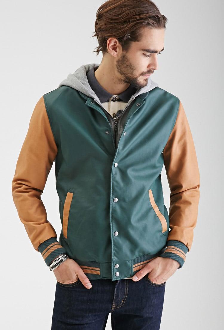 Leather varsity jacket men
