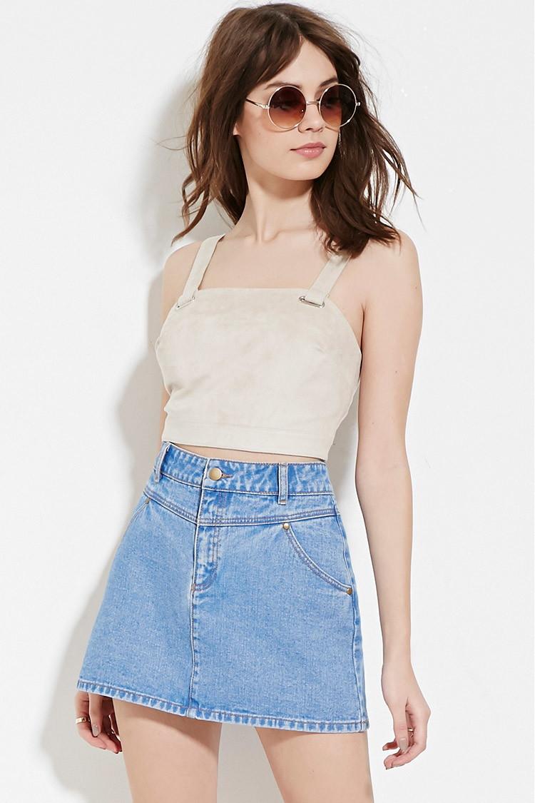 Forever 21 Denim Mini Skirt in Blue | Lyst