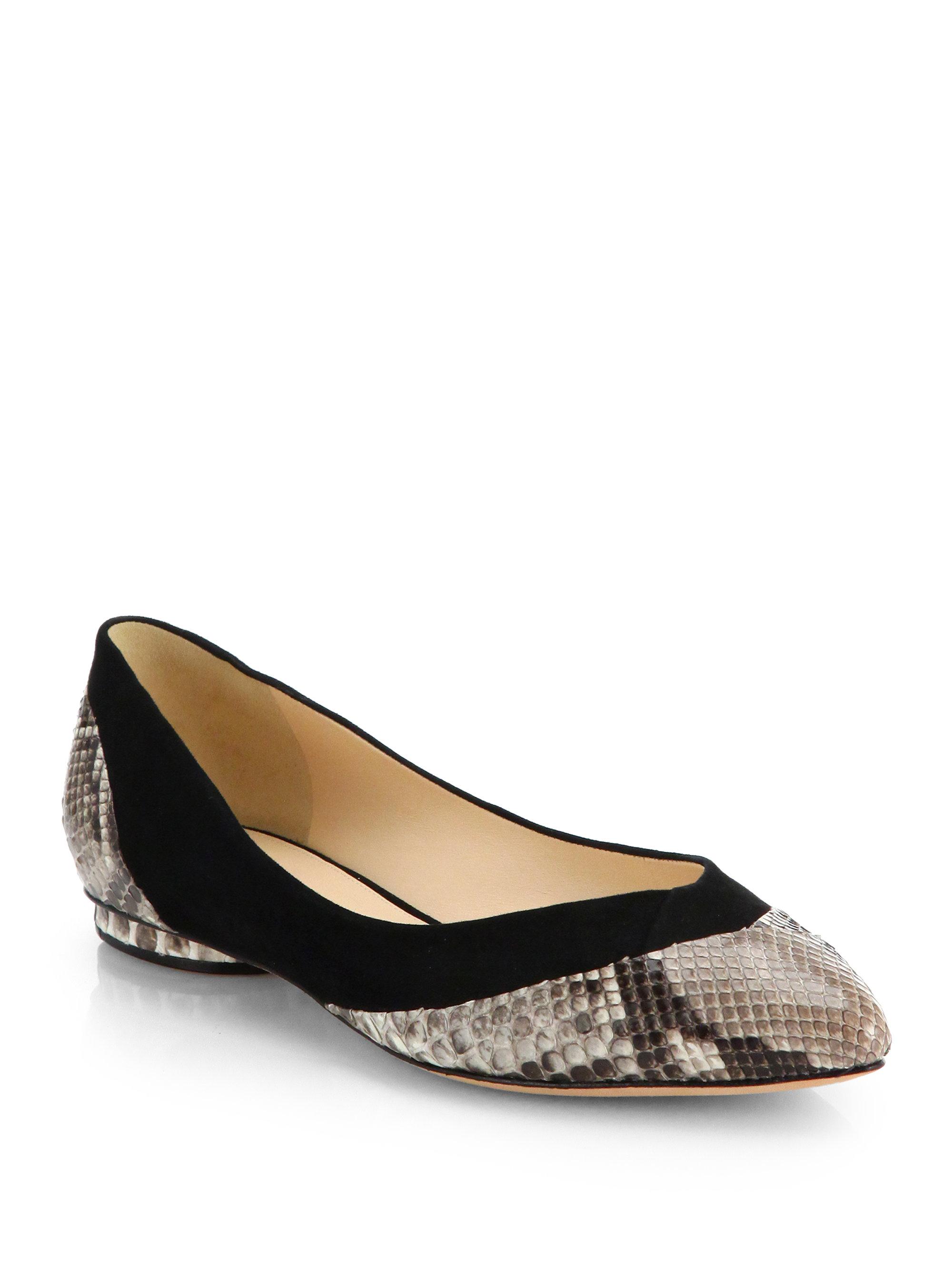 Alexandre Birman Python-Trimmed Suede Flats browse sale online online store jQrxv