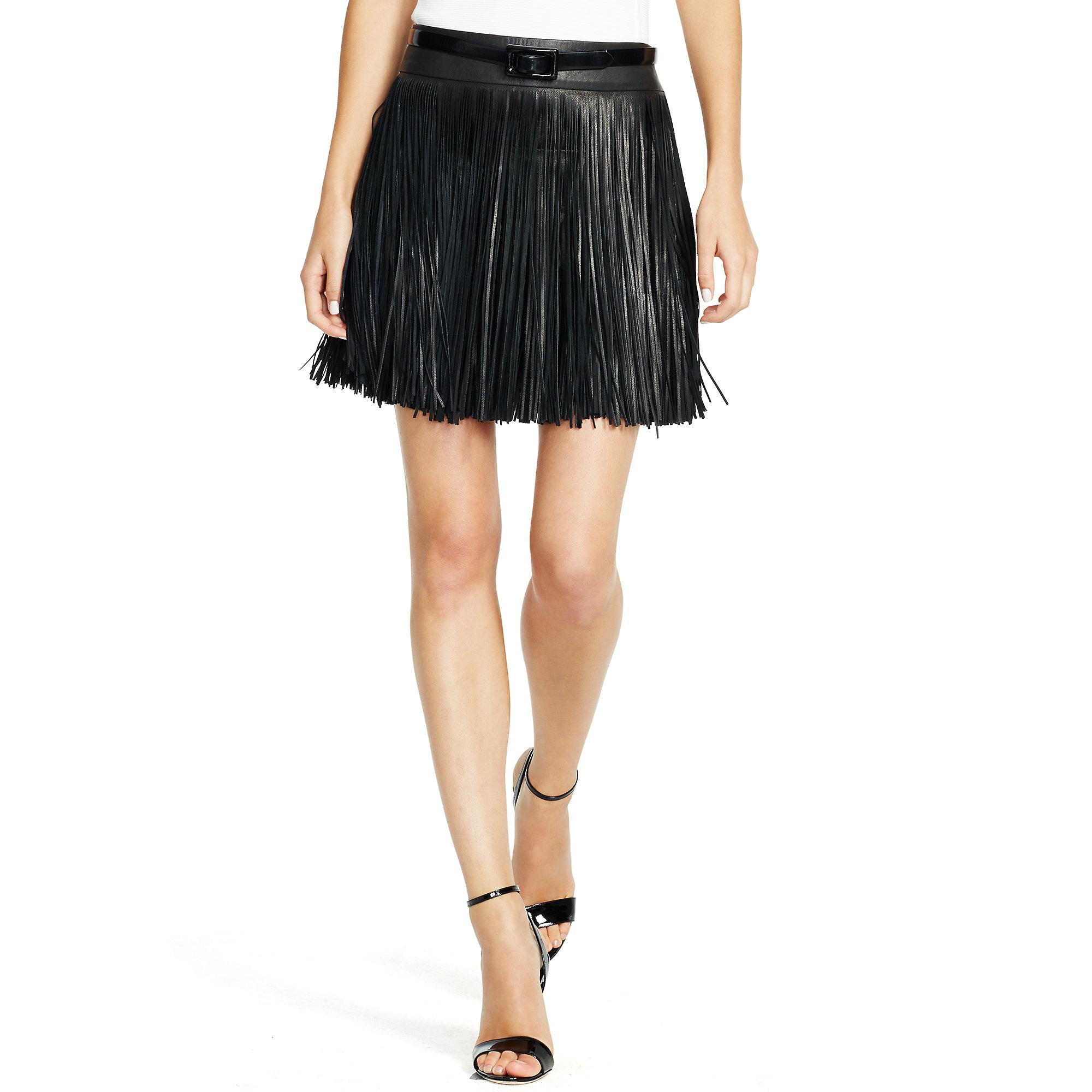 Polo ralph lauren Fringed Leather Miniskirt in Black | Lyst