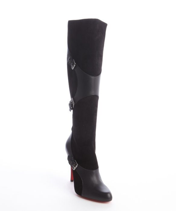christian louboutin pointed-toe knee-high boots Black leather ...
