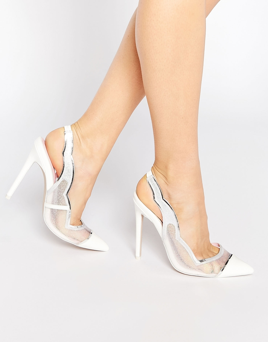364a98bbc99 Lyst - ASOS Primp Pointed Heels - White in Pink