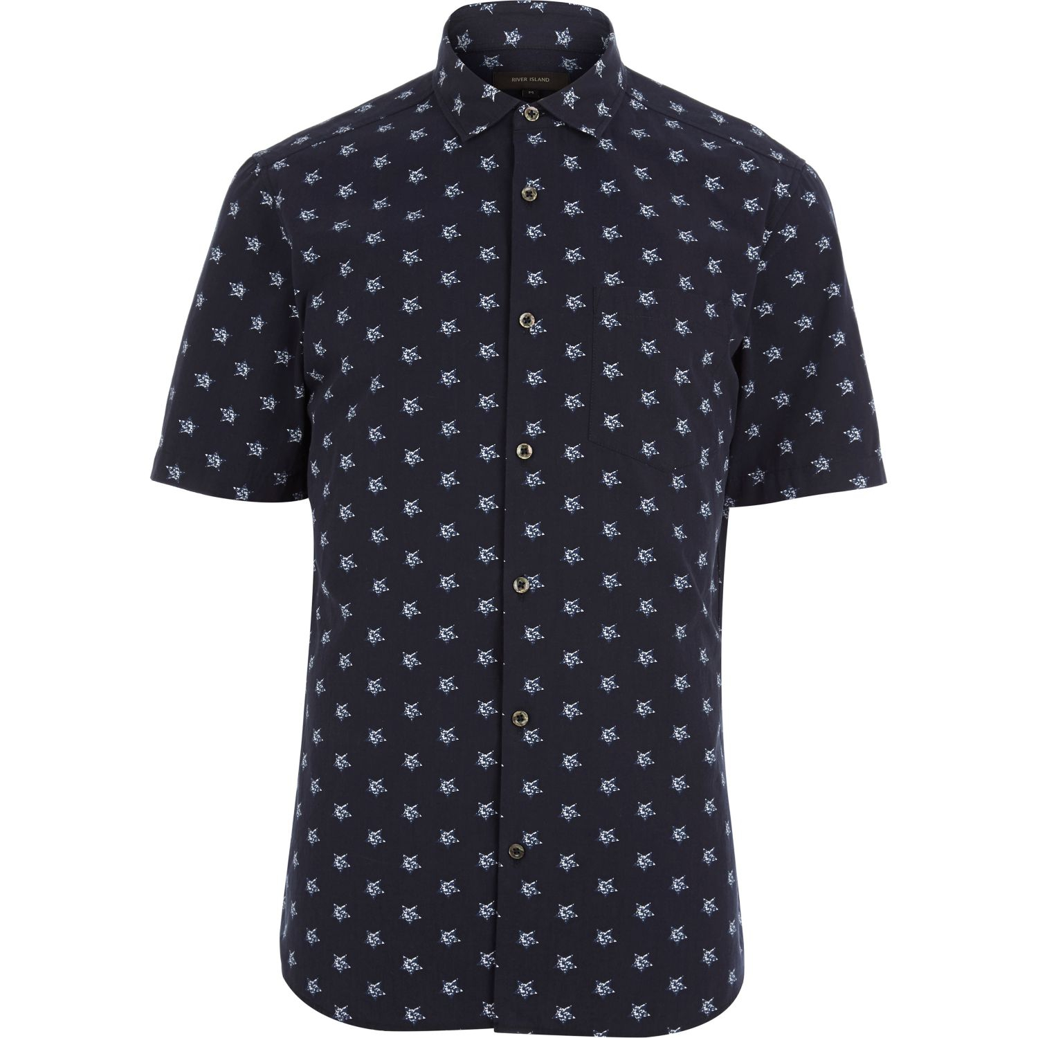 River island navy star print short sleeve shirt in blue for Navy short sleeve shirt