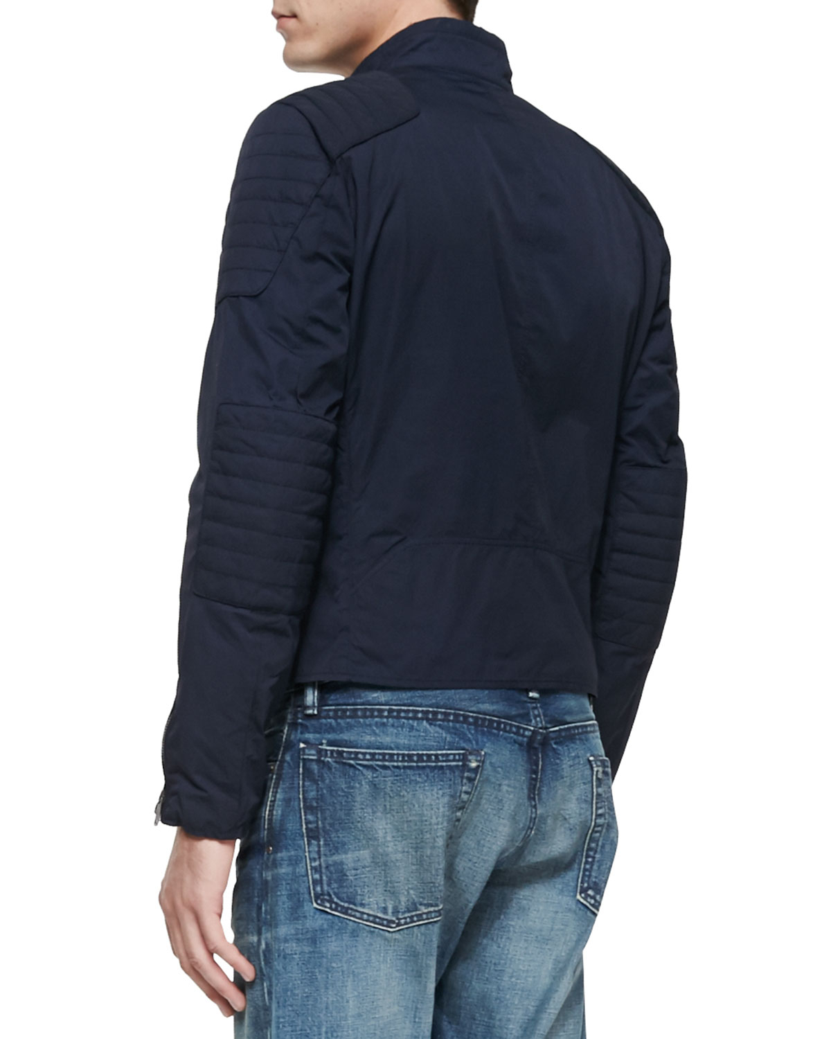 Ralph lauren black label Lightweight Biker Jacket in Blue for Men ...