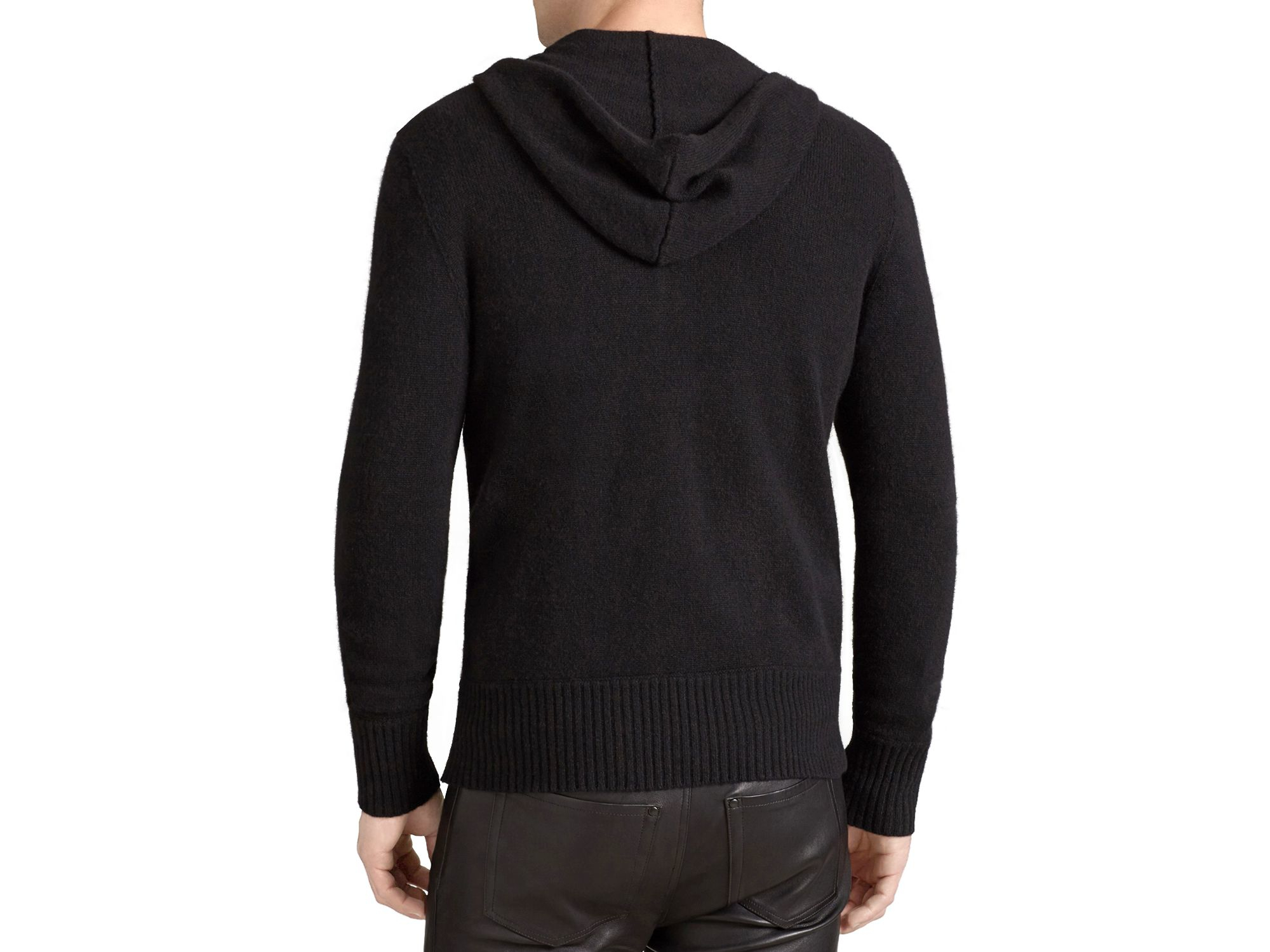 John varvatos Collection Leather Trim Wool Hoodie Sweater in Black ...