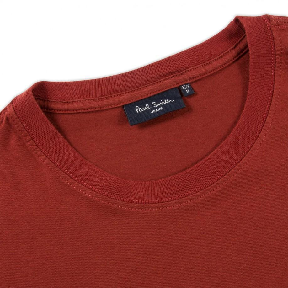 Paul smith men s dark red embroidered pocket t shirt in