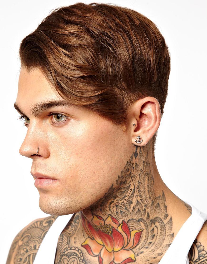 Lyst Asos Anchor Earrings In Metallic For Men