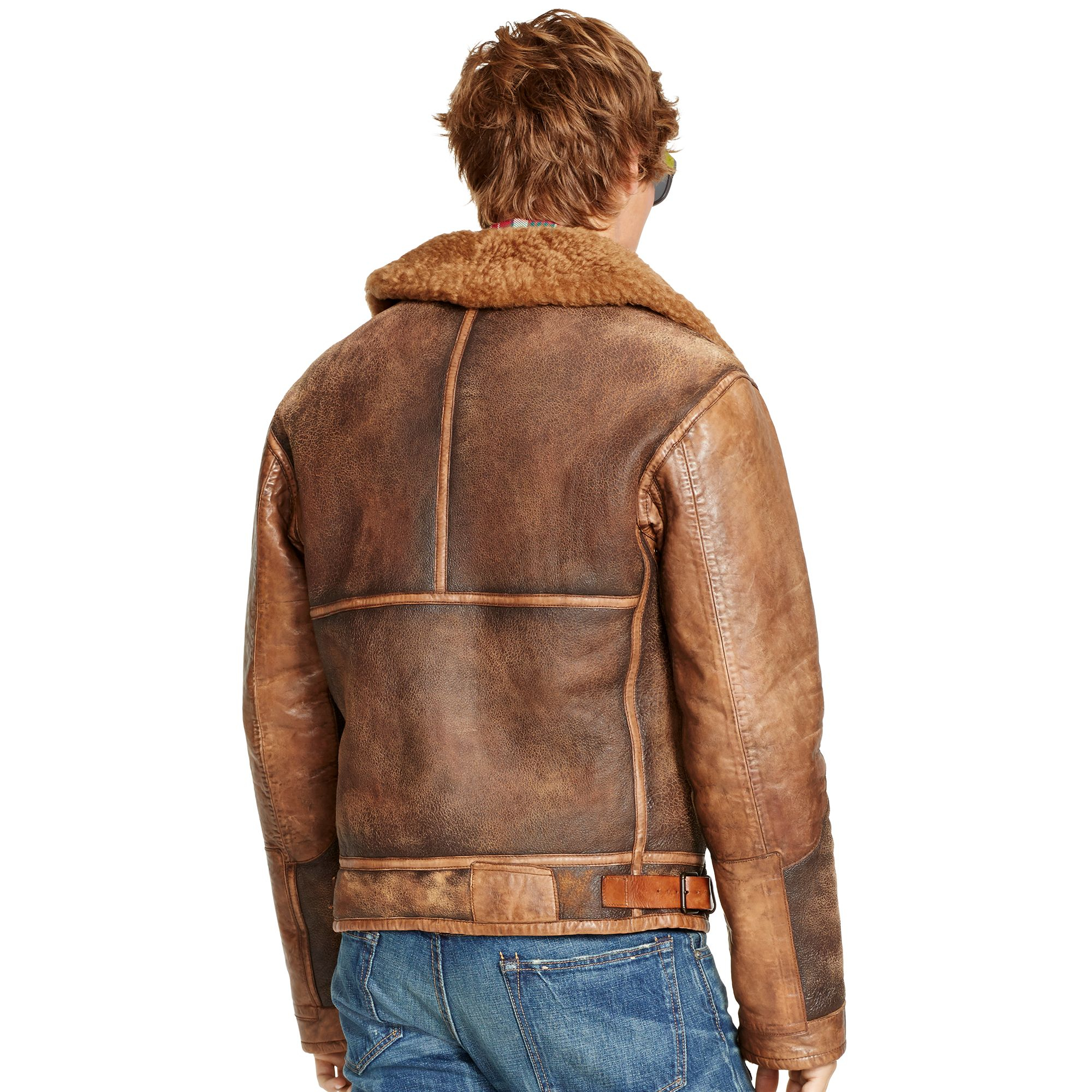 Polo Ralph Lauren Shearling Bomber Jacket in Brown for Men - Lyst f5c46a4a52b15