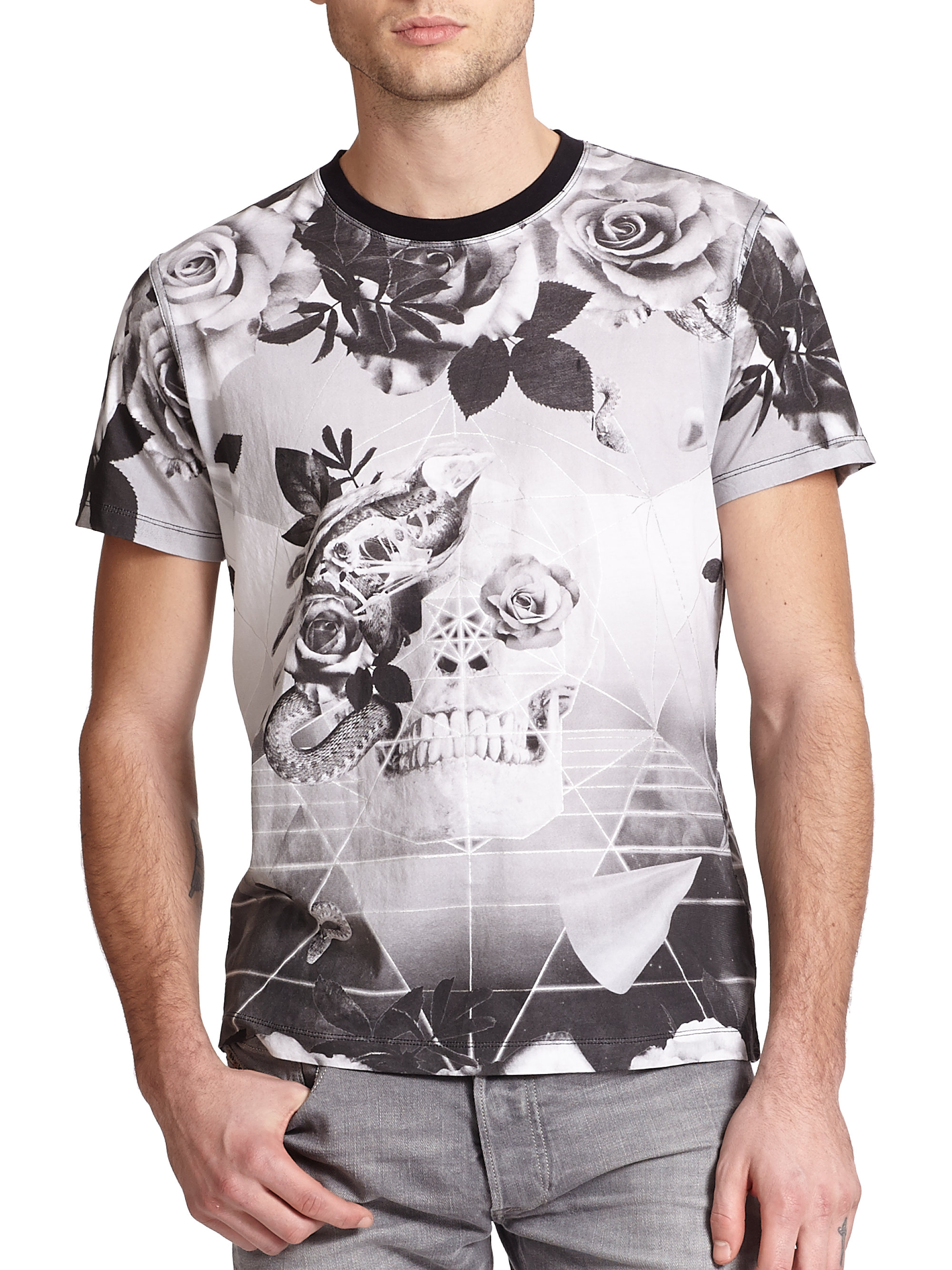 Lyst - Diesel Skull & Rose Geometric-print Cotton Tee in ...