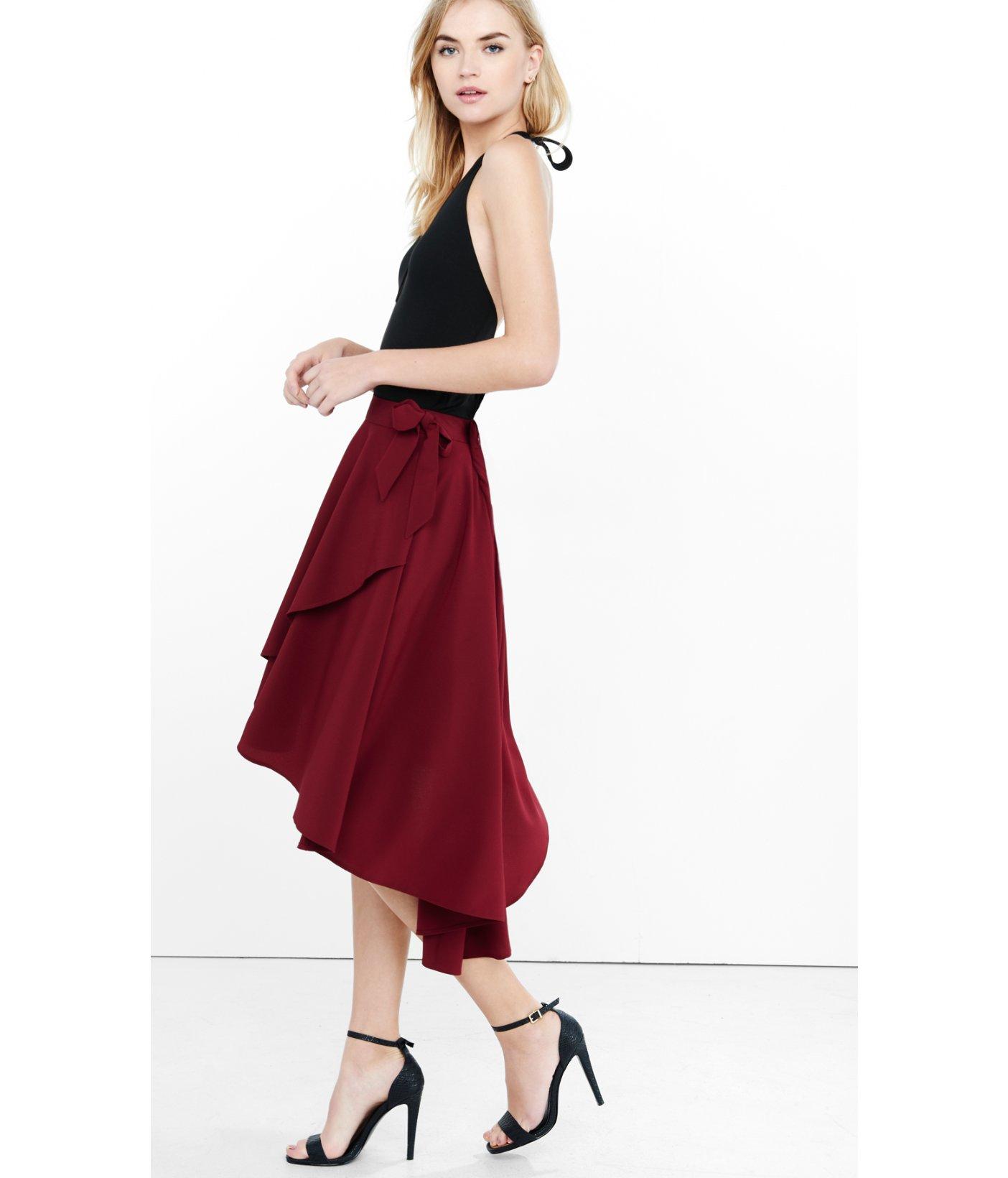 Express Burgundy Hi Lo Faux Wrap Midi Skirt in Purple | Lyst