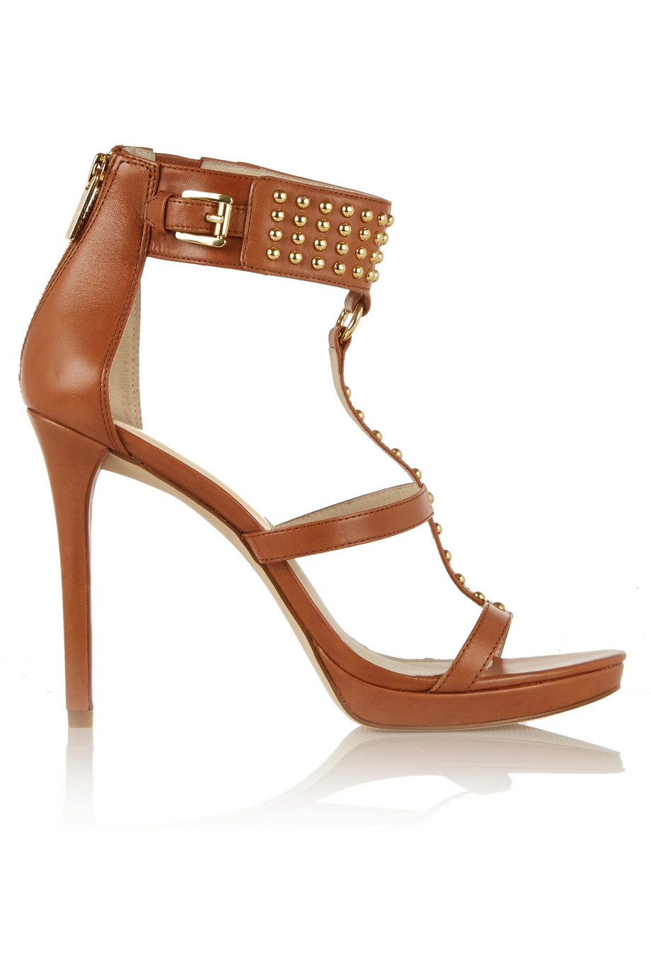 461b7dc32a3 MICHAEL Michael Kors Celena Studded Leather Sandals in Brown - Lyst