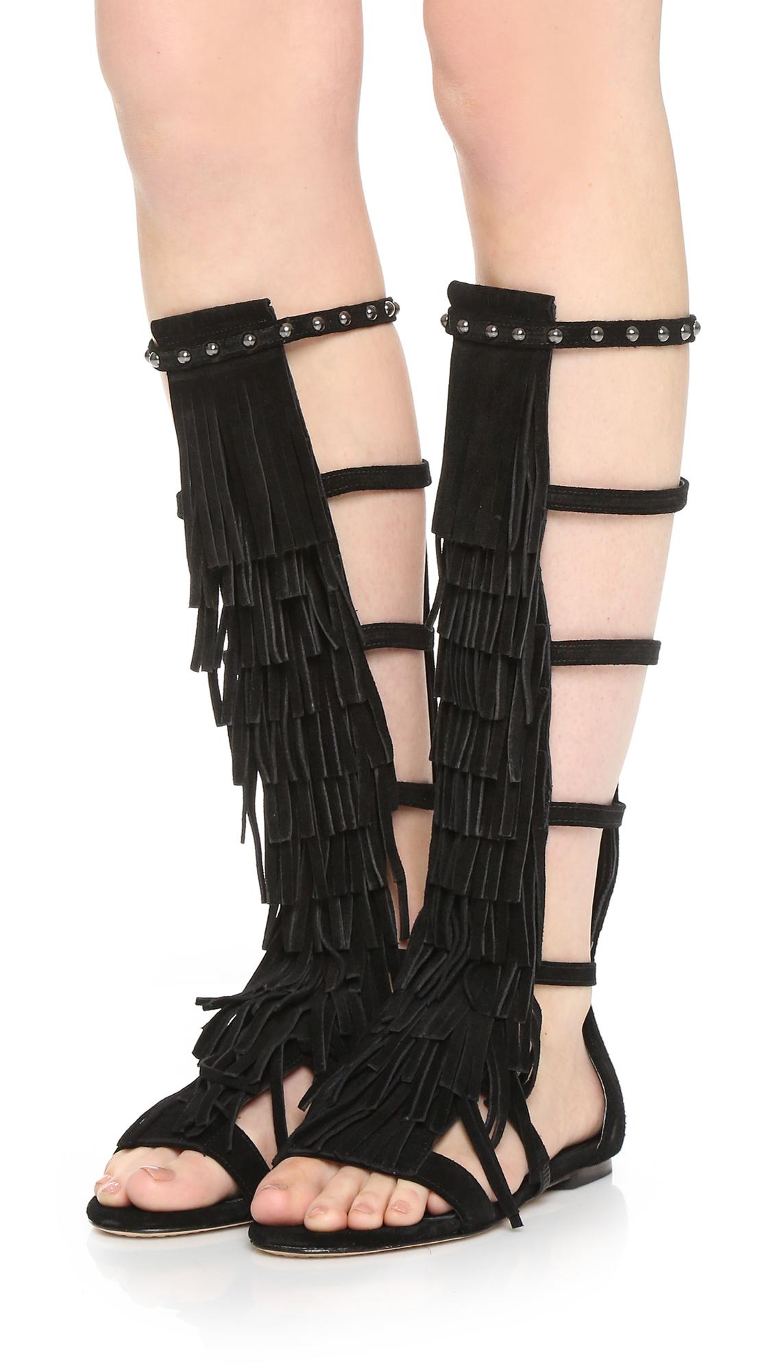 Lyst Alice Olivia Paula Fringe Gladiator Sandals In Black