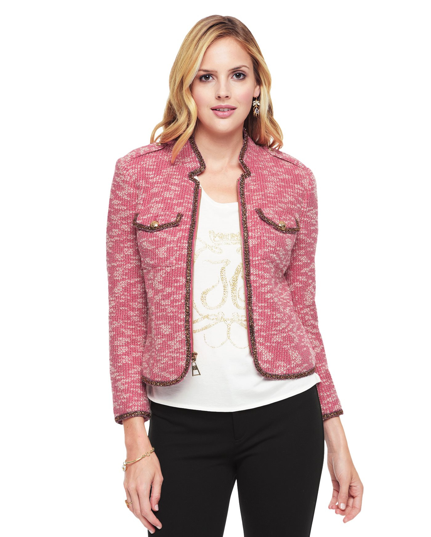 Juicy couture Metallic Boucle Jacket in Pink | Lyst