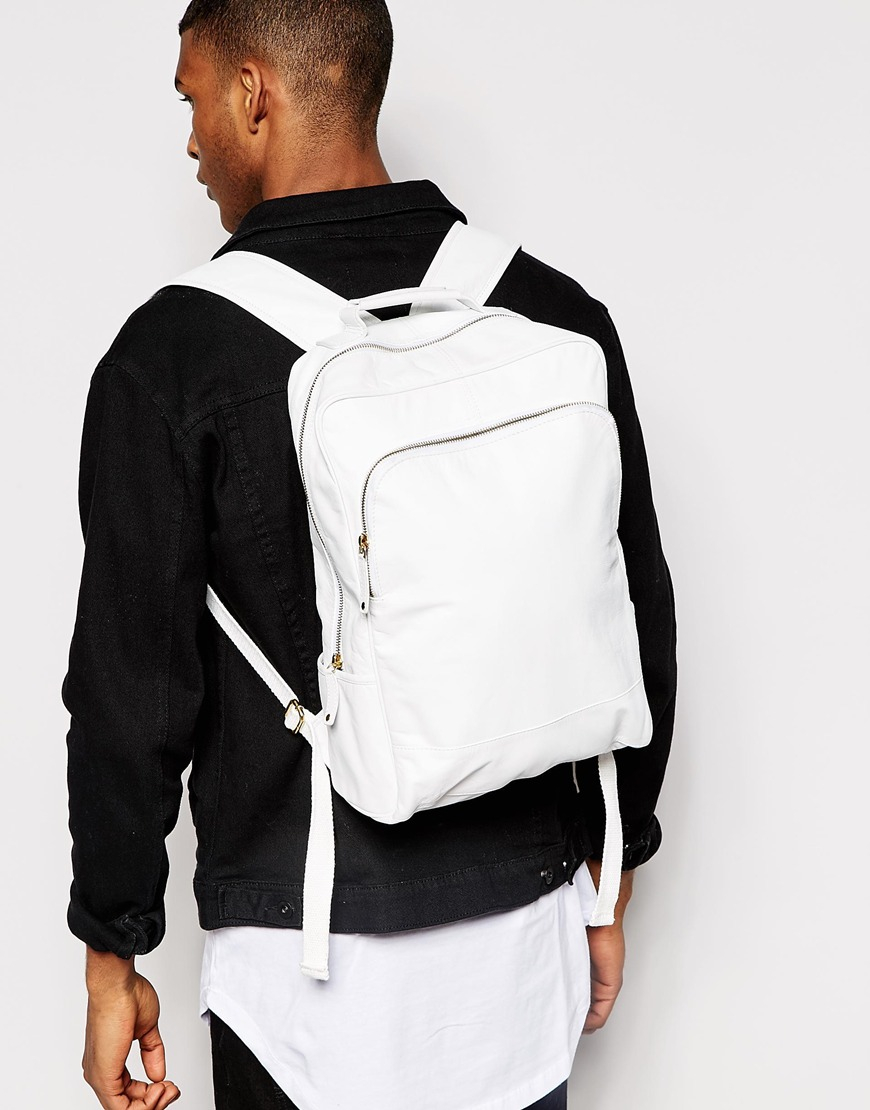 6b1a14112b Asos Smart Leather Backpack In White in White for Men